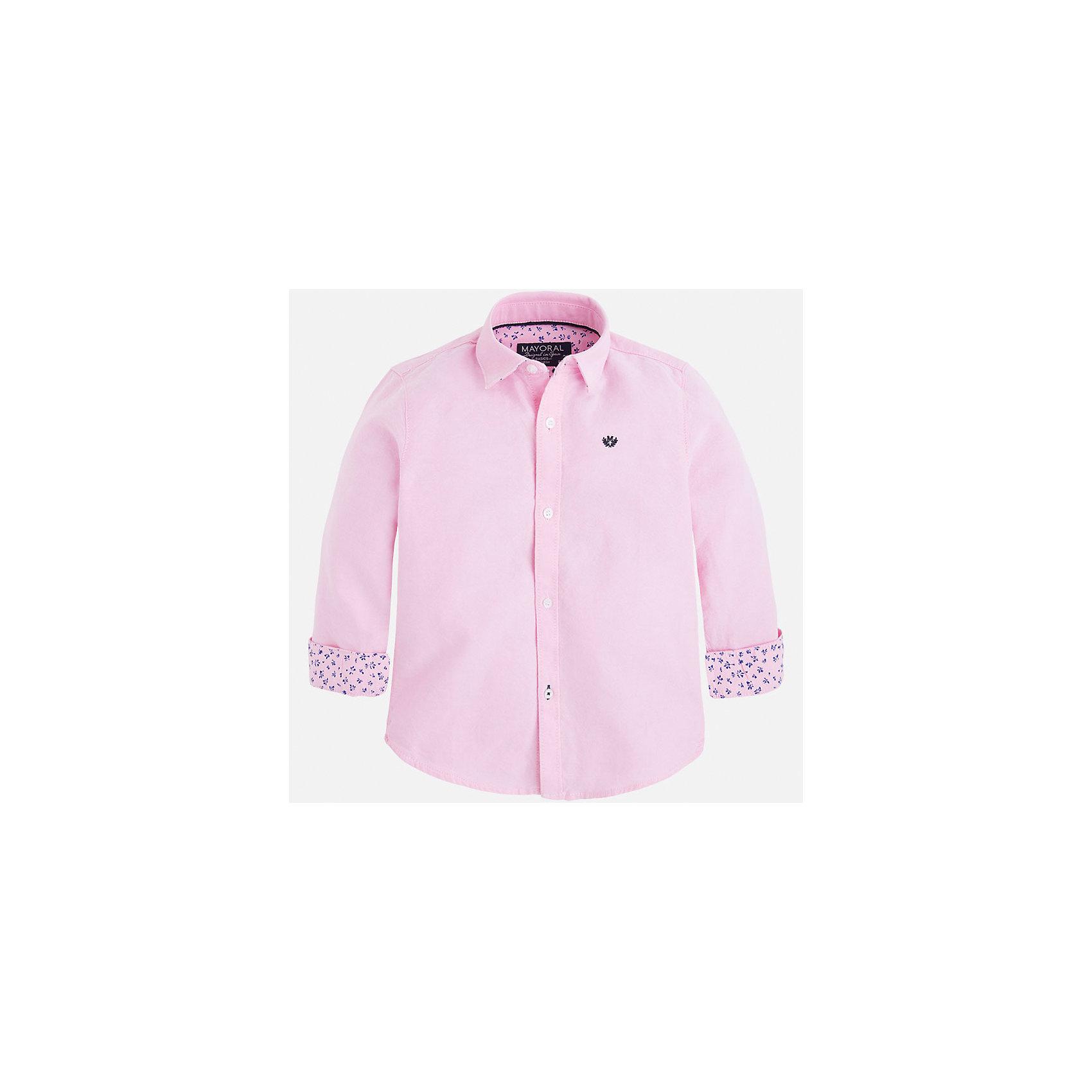 Рубашка для мальчика MayoralРубашка для мальчика от известного испанского бренда Mayoral. Рубашка изготовлена из 100% хлопка. Силуэт прямой, рукава слегка укорочены с помощью декоративной застежки-пуговицы.  На груди маленькая эмблема марки. Рубашка прекрасно подойдет для ответственного мероприятия.<br>Дополнительная информация:<br>-тип застежки: пуговицы<br>-цвет: розовый<br>-состав: 100% хлопок<br>Рубашку Mayoral вы можете приобрести в нашем интернет-магазине.<br><br>Ширина мм: 174<br>Глубина мм: 10<br>Высота мм: 169<br>Вес г: 157<br>Цвет: розовый<br>Возраст от месяцев: 48<br>Возраст до месяцев: 60<br>Пол: Мужской<br>Возраст: Детский<br>Размер: 110,104,128,122,98,134,116<br>SKU: 4820361