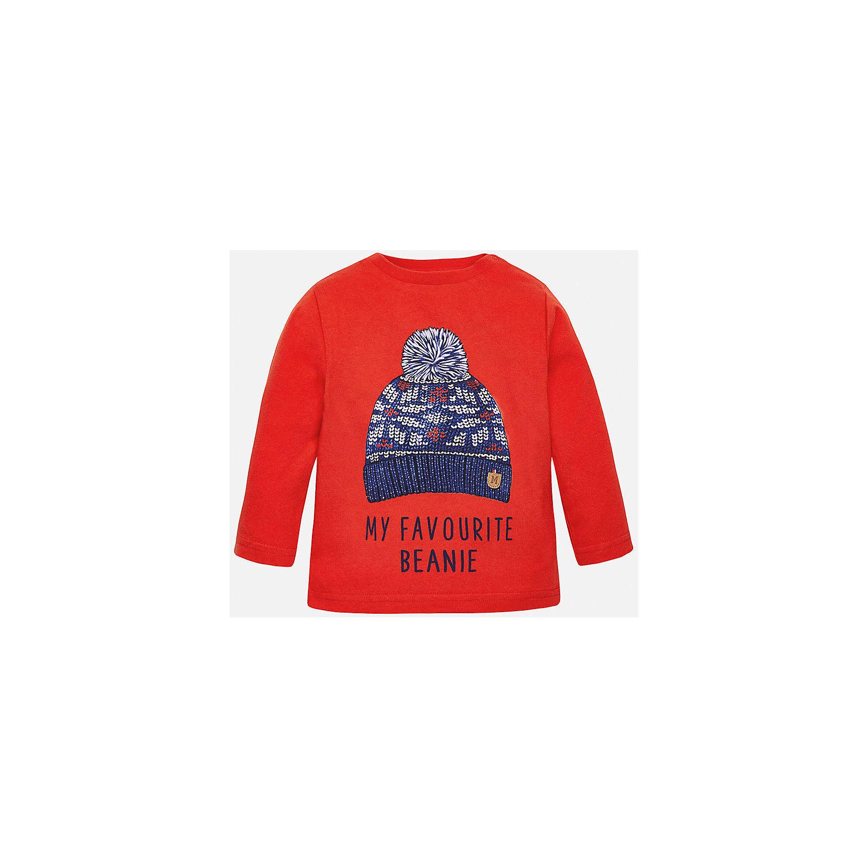 Футболка с длинным рукавом для мальчика MayoralФутболка для мальчика от известного испанского бренда Mayoral. Футболка сделана из мягкого 100% хлопка. Прямой силуэт, длинные рукава, на вороте есть кнопка-застежка.  Спереди футболка украшена принтом с шапкой-бини и эмблемой бренда.<br>Дополнительная информация:<br>-прямой силуэт<br>-длинные рукава<br>-цвет: красный<br>-состав: 100% хлопок<br>Футболку Mayoral вы можете приобрести в нашем интернет-магазине.<br><br>Ширина мм: 230<br>Глубина мм: 40<br>Высота мм: 220<br>Вес г: 250<br>Цвет: коричневый<br>Возраст от месяцев: 12<br>Возраст до месяцев: 15<br>Пол: Мужской<br>Возраст: Детский<br>Размер: 80,86,92,74<br>SKU: 4820414