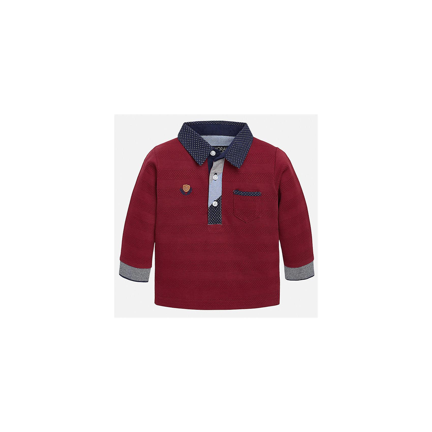 Футболка-поло с длинным рукавом для мальчика MayoralФутболки с длинным рукавом<br>Рубашка-поло для мальчика от известного испанского бренда Mayoral. Рубашка изготовлена из натурального мягкого хлопка. Контрастная расцветка ворота и манжетов придаст образу вашего ребенка особую утонченность.<br>Дополнительная информация:<br>-прямой силуэт<br>-длинные рукава<br>-3 застежки-пуговицы на вороте<br>-карман на груди<br>-эмблема фирмы на груди<br>-цвет: красный/синий<br>состав: 100% хлопок<br>Рубашку-поло Mayoral можно приобрести в нашем интернет-магазине.<br><br>Ширина мм: 174<br>Глубина мм: 10<br>Высота мм: 169<br>Вес г: 157<br>Цвет: бордовый<br>Возраст от месяцев: 12<br>Возраст до месяцев: 18<br>Пол: Мужской<br>Возраст: Детский<br>Размер: 86,80,92<br>SKU: 4820524
