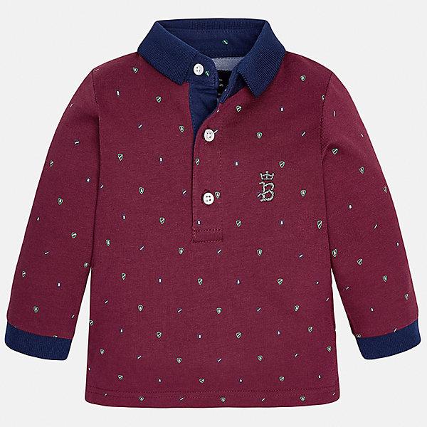 Футболка-поло с длинным рукавом для мальчика MayoralКофточки и распашонки<br>Рубашка-поло от известного испанского бренда Mayoral. Рубашка из качественного хлопка, застегивается на пуговицы у ворота. Ненавязчивый принт, контрастный дизайн на манжетах и вороте отлично подойдет ценителям стиля и простоты.<br>Дополнительная информация:<br>-прямой силуэт<br>-3 застежки-пуговицы на вороте<br>-украшена небольшой эмблемой на груди<br>-цвет: бордовый<br>-состав: 100% хлопок<br>Рубашку поло Mayoral вы можете приобрести в нашем интернет-магазине.<br><br>Ширина мм: 174<br>Глубина мм: 10<br>Высота мм: 169<br>Вес г: 157<br>Цвет: бордовый<br>Возраст от месяцев: 12<br>Возраст до месяцев: 15<br>Пол: Мужской<br>Возраст: Детский<br>Размер: 80,92,86<br>SKU: 4820548