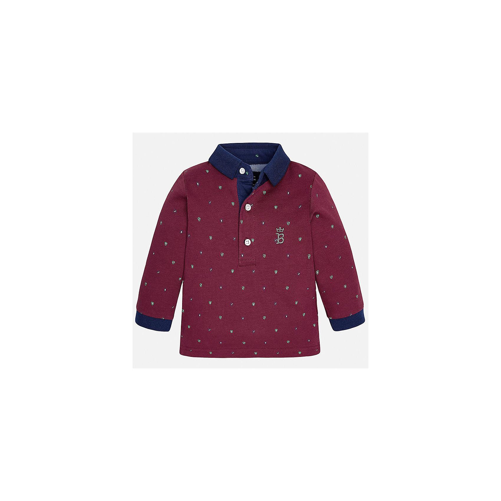 Футболка-поло с длинным рукавом для мальчика MayoralФутболки с длинным рукавом<br>Рубашка-поло от известного испанского бренда Mayoral. Рубашка из качественного хлопка, застегивается на пуговицы у ворота. Ненавязчивый принт, контрастный дизайн на манжетах и вороте отлично подойдет ценителям стиля и простоты.<br>Дополнительная информация:<br>-прямой силуэт<br>-3 застежки-пуговицы на вороте<br>-украшена небольшой эмблемой на груди<br>-цвет: бордовый<br>-состав: 100% хлопок<br>Рубашку поло Mayoral вы можете приобрести в нашем интернет-магазине.<br><br>Ширина мм: 174<br>Глубина мм: 10<br>Высота мм: 169<br>Вес г: 157<br>Цвет: бордовый<br>Возраст от месяцев: 12<br>Возраст до месяцев: 15<br>Пол: Мужской<br>Возраст: Детский<br>Размер: 80,92,86<br>SKU: 4820548