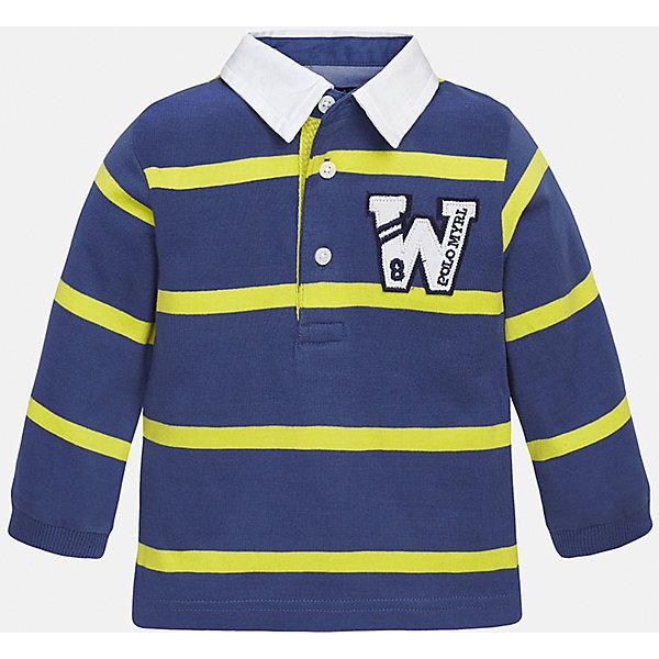 Футболка-поло с длинным рукавом для мальчика MayoralКофточки и распашонки<br>Рубашка-поло для мальчика от известного испанского бренда Mayoral. Модель с длинным силуэтом и прямым рукавом изготовлена из качественного 100% хлопка. На груди аппликация в виде эмблемы.<br>Дополнительная информация:<br>-прямой силуэт<br>-длинные рукава<br>-3 застежки-пуговицы<br>-украшены аппликацией на груди<br>-цвет: синий/желтый<br>-состав: 100% хлопок<br>Рубашку-поло Mayoral можно приобрести в нашем интернет-магазине<br><br>Ширина мм: 174<br>Глубина мм: 10<br>Высота мм: 169<br>Вес г: 157<br>Цвет: синий<br>Возраст от месяцев: 12<br>Возраст до месяцев: 18<br>Пол: Мужской<br>Возраст: Детский<br>Размер: 86,92,80,74<br>SKU: 4820560