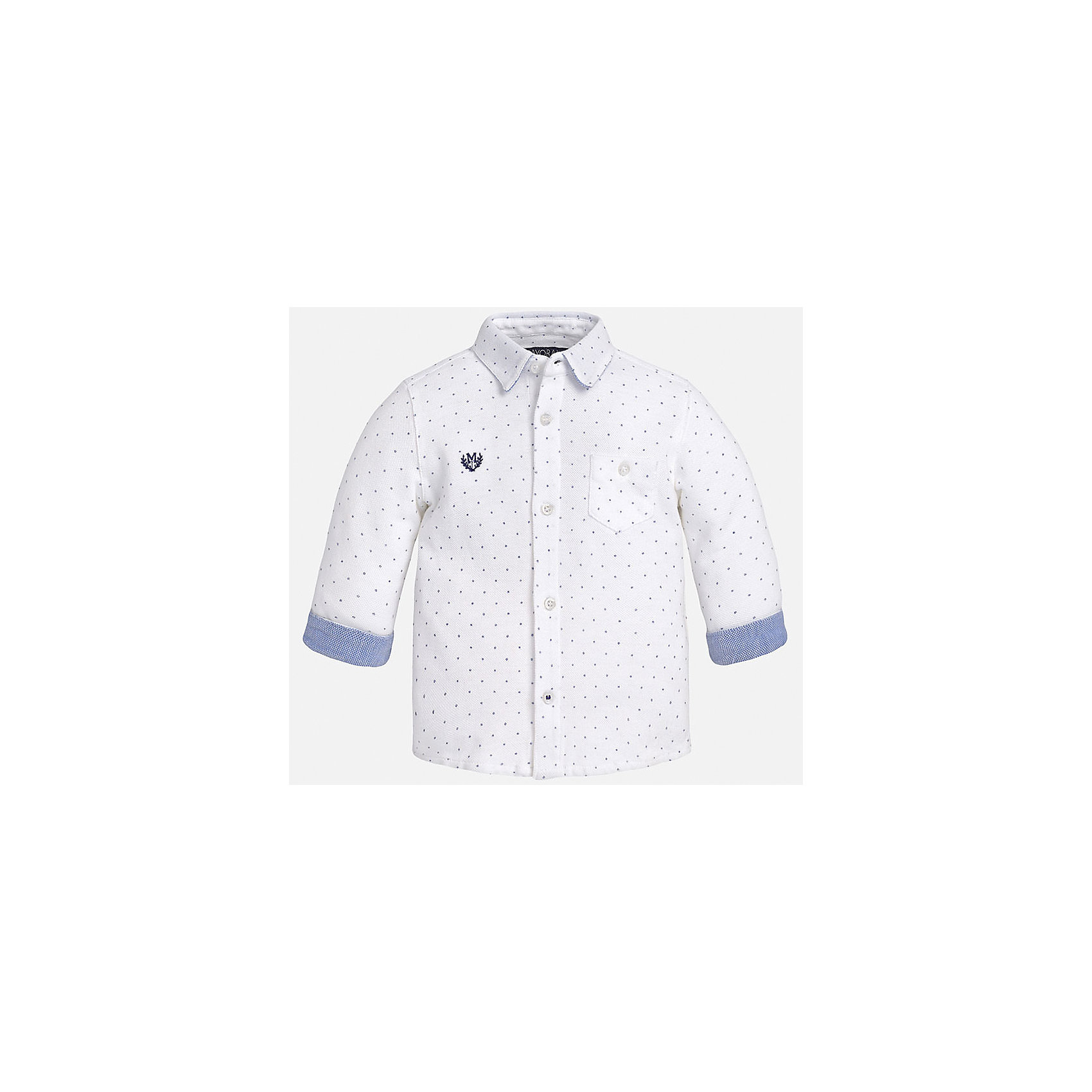 Рубашка для мальчика MayoralРубашка для мальчика от известного испанского бренда Mayoral. Рубашка изготовлена из 100% хлопка с простым узором в горошек. Застегивается на пуговицы, на груди есть карман и эмблема фирмы. Прекрасно подойдет и для важных мероприятий, и на каждый день!<br>Дополнительная информация:<br>-прямой силуэт<br>-слегка укороченные рукава<br>-карман и эмблема фирмы на груди<br>-застегивается на пуговицы<br>-цвет: белый<br>-состав: 100% хлопок<br>Рубашку Mayoral можно приобрести в нашем интернет-магазине.<br><br>Ширина мм: 174<br>Глубина мм: 10<br>Высота мм: 169<br>Вес г: 157<br>Цвет: белый<br>Возраст от месяцев: 12<br>Возраст до месяцев: 18<br>Пол: Мужской<br>Возраст: Детский<br>Размер: 86,92,74,80<br>SKU: 4820575