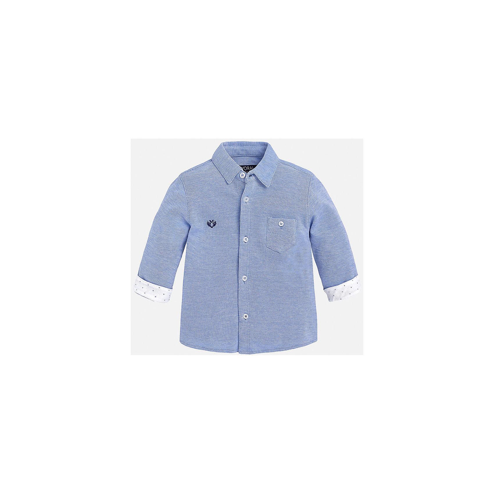 Рубашка для мальчика MayoralБлузки и рубашки<br>Рубашка для мальчика от известного испанского бренда Mayoral. Рубашка изготовлена из 100% хлопка с простым узором в горошек на манжетах. Застегивается на пуговицы, на груди есть карман и эмблема фирмы. Прекрасно подойдет и для важных мероприятий, и на каждый день!<br>Дополнительная информация:<br>-прямой силуэт<br>-слегка укороченные рукава<br>-карман и эмблема фирмы на груди<br>-застегивается на пуговицы<br>-цвет: голубой<br>-состав: 100% хлопок<br>Рубашку Mayoral можно приобрести в нашем интернет-магазине.<br><br>Ширина мм: 174<br>Глубина мм: 10<br>Высота мм: 169<br>Вес г: 157<br>Цвет: фиолетовый<br>Возраст от месяцев: 12<br>Возраст до месяцев: 15<br>Пол: Мужской<br>Возраст: Детский<br>Размер: 80,92,86,74<br>SKU: 4820580