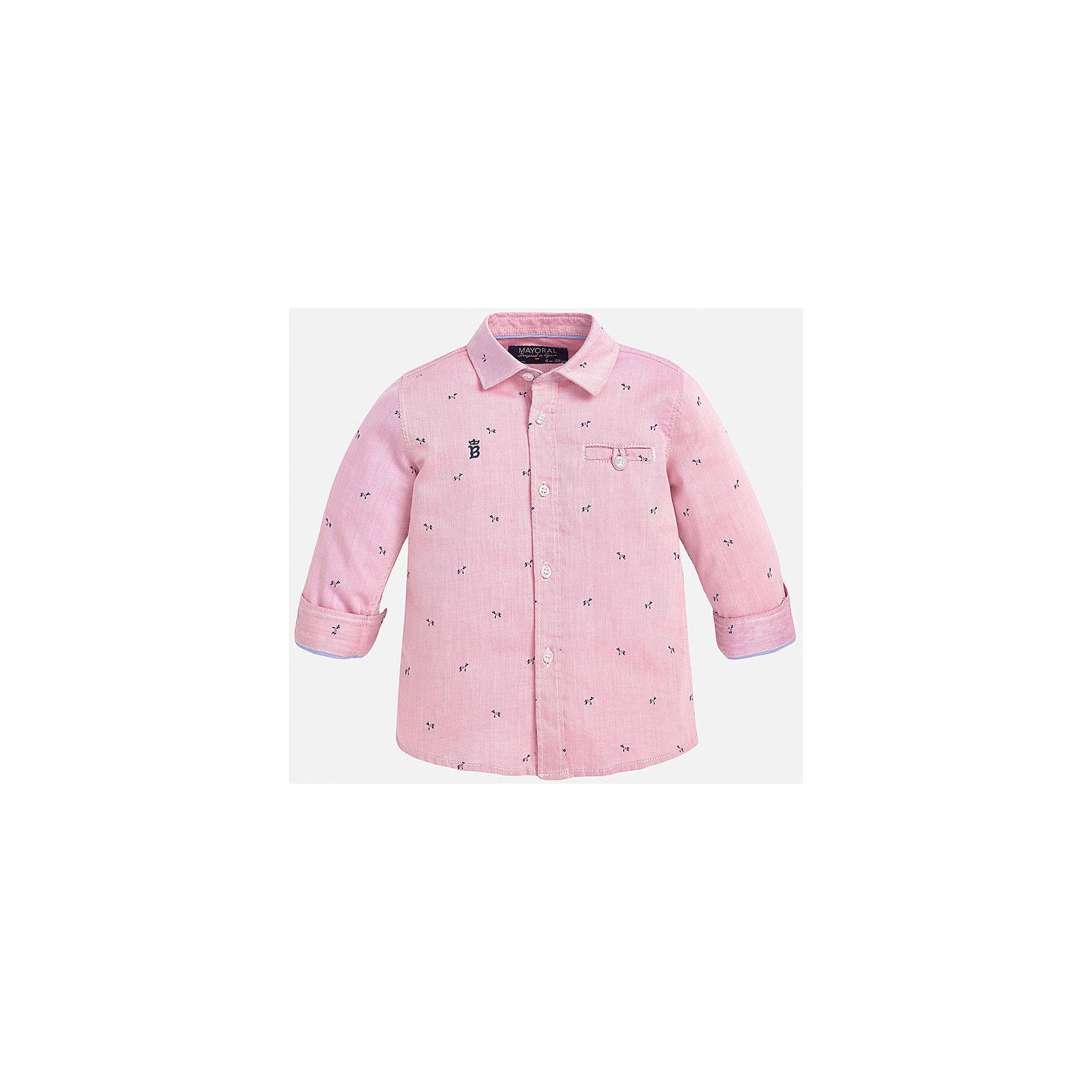 Рубашка для мальчика MayoralРубашка для мальчика от известного испанского бренда Mayoral. Модель из 100% хлопка с ненавязчивым узором. На груди вышит декоративный карман. Отлично сочетается и с брюками, и с джинсами.<br>Дополнительная информация:<br>-прямой силуэт<br>-укороченные рукава<br>-декоративный карман и небольшая эмблема на груди<br>-застегивается на пуговицы<br>-цвет: розовый<br>-состав: 100% хлопок<br>Рубашку Mayoral можно приобрести в нашем интернет-магазине.<br><br>Ширина мм: 174<br>Глубина мм: 10<br>Высота мм: 169<br>Вес г: 157<br>Цвет: розовый<br>Возраст от месяцев: 12<br>Возраст до месяцев: 15<br>Пол: Мужской<br>Возраст: Детский<br>Размер: 80,86,92<br>SKU: 4820589