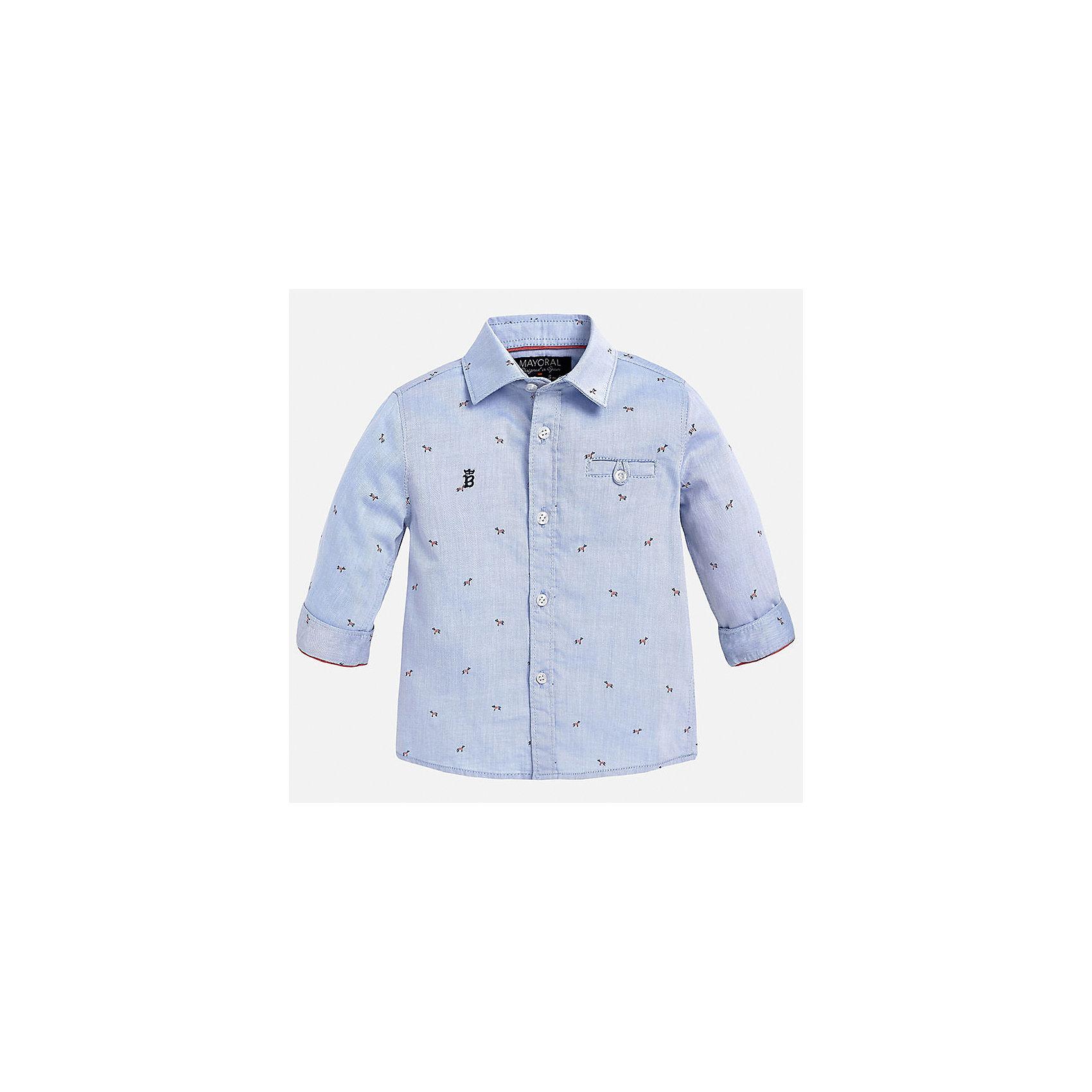 Рубашка для мальчика MayoralРубашка для мальчика от известного испанского бренда Mayoral. Модель из 100% хлопка с ненавязчивым узором. На груди вышит декоративный карман. Отлично сочетается и с брюками, и с джинсами.<br>Дополнительная информация:<br>-прямой силуэт<br>-укороченные рукава<br>-декоративный карман и небольшая эмблема на груди<br>-застегивается на пуговицы<br>-цвет: голубой<br>-состав: 100% хлопок<br>Рубашку Mayoral можно приобрести в нашем интернет-магазине.<br><br>Ширина мм: 174<br>Глубина мм: 10<br>Высота мм: 169<br>Вес г: 157<br>Цвет: голубой<br>Возраст от месяцев: 12<br>Возраст до месяцев: 15<br>Пол: Мужской<br>Возраст: Детский<br>Размер: 80,86,92<br>SKU: 4820593