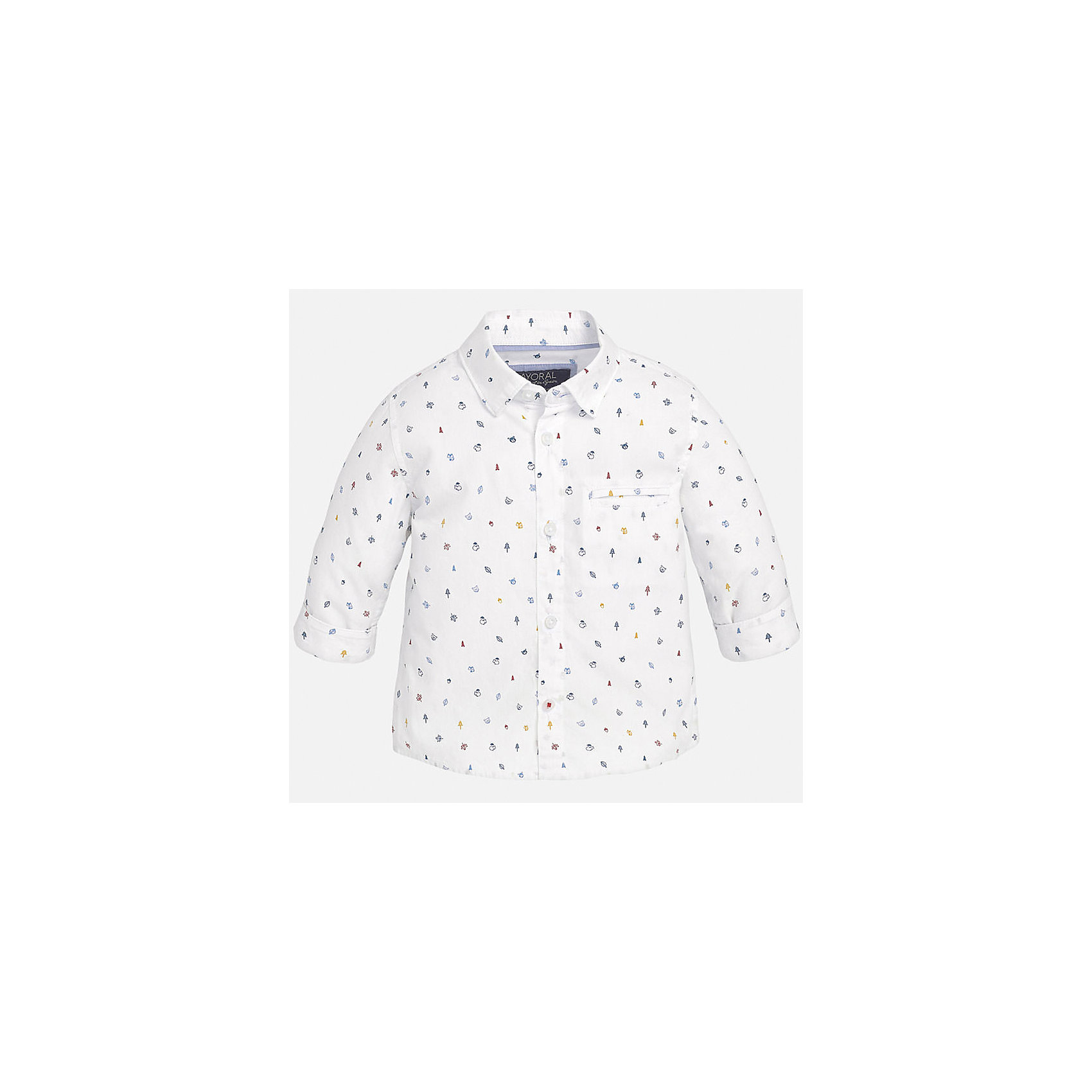 Рубашка для мальчика MayoralРубашка для мальчика от известного испанского бренда Mayoral. Рубашка из 100% хлопка с оригинальным принтом и декоративным карманом на груди - отличный выбор для вашего ребенка.<br>Дополнительная информация:<br>-прямой силуэт<br>-декоративный карман на груди<br>-застегивается на пуговицы<br>-цвет: белый<br>-состав: 100% хлопок<br>Рубашку Mayoral можно приобрести в нашем интернет-магазине<br><br>Ширина мм: 174<br>Глубина мм: 10<br>Высота мм: 169<br>Вес г: 157<br>Цвет: белый<br>Возраст от месяцев: 18<br>Возраст до месяцев: 24<br>Пол: Мужской<br>Возраст: Детский<br>Размер: 92,80,86<br>SKU: 4820597