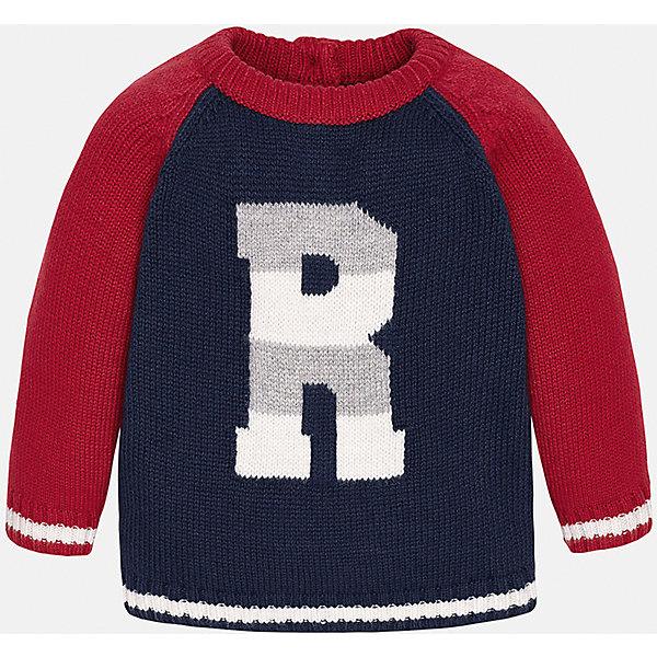 Свитер для мальчика MayoralСвитера и кардиганы<br>Свитер для мальчика от известного испанского бренда Mayoral. Свитер из натуральных тканей с приятной расцветкой. 2 пуговицы на спине, спереди украшен крупным рисунком. Этот свитер несомненно займет достойное место в гардеробе вашего ребенка.<br>Дополнительная информация:<br>-прямой силуэт<br>-длинные рукава<br>-2 пуговицы на спине<br>-цвет: красный/темно-синий<br>-состав: 50% хлопок, 45% полиамид, 5% шерсть<br>Свитер Mayoral вы можете приобрести в нашем интернет-магазине<br><br>Ширина мм: 190<br>Глубина мм: 74<br>Высота мм: 229<br>Вес г: 236<br>Цвет: бордовый<br>Возраст от месяцев: 18<br>Возраст до месяцев: 24<br>Пол: Мужской<br>Возраст: Детский<br>Размер: 92,80,86,74<br>SKU: 4820626