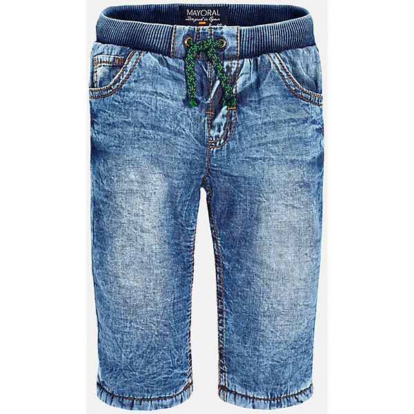 Джинсы для мальчика MayoralДжинсы и брючки<br>Джинсы для мальчика от известного испанского бренда Mayoral(Майорал) изготовлены из хлопка с подкладкой из полиэстера. На поясе удобная резиночка и завязки. Спереди и сзади по два кармана. В таких джинсах юному моднику будет очень удобно!<br><br>Дополнительная информация:<br>Состав: 100% хлопок. Подкладка: 100% полиэстер<br>Цвет: синий<br>Брюки для мальчика Mayoral(Майорал) вы можете приобрести в нашем интернет-магазине.<br><br>Ширина мм: 215<br>Глубина мм: 88<br>Высота мм: 191<br>Вес г: 336<br>Цвет: голубой<br>Возраст от месяцев: 6<br>Возраст до месяцев: 9<br>Пол: Мужской<br>Возраст: Детский<br>Размер: 74,92,80,86<br>SKU: 4820719