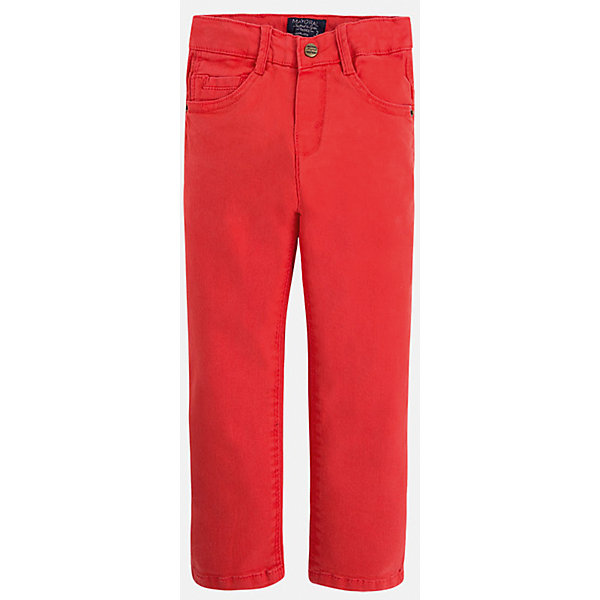 Брюки для мальчика MayoralБрюки<br>Брюки для мальчика Mayoral (Майорал)<br>Ультрамодные брюки от известной испанской марки Mayoral (Майорал), выполненные из хлопковой ткани с небольшим содержанием эластана, станут прекрасным дополнением гардероба вашего мальчика. Брюки на поясе застегиваются на пуговицу, а также имеют ширинку на застежке-молнии и шлевки для ремня, объем талии регулируется. Модель имеет два кармана и кармашек для ключей спереди и два накладных кармана сзади.<br><br>Дополнительная информация:<br><br>- Цвет: красно-оранжевый<br>- Состав: 98% хлопок, 2% эластан<br>- Уход: бережная стирка при 30 градусах<br><br>Брюки для мальчика Mayoral (Майорал) можно купить в нашем интернет-магазине.<br>Ширина мм: 215; Глубина мм: 88; Высота мм: 191; Вес г: 336; Цвет: коричневый; Возраст от месяцев: 18; Возраст до месяцев: 24; Пол: Мужской; Возраст: Детский; Размер: 92,134,98,104,110,116,122,128; SKU: 4820896;