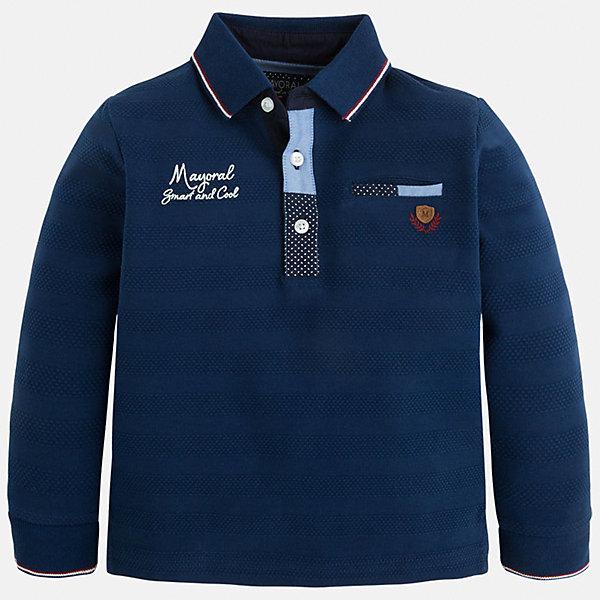 Футболка-поло с длинным рукавом для мальчика MayoralФутболки с длинным рукавом<br>Рубашка-поло для мальчика Mayoral (Майорал) – это стильная, модная и практичная модель.<br>Элегантная рубашка-поло с длинными рукавами от известной испанской марки Mayoral (Майорал) выполненная из натурального хлопка, станет прекрасным дополнением гардероба вашего мальчика. Ворот и манжеты декорированы контрастными полосками. Ворот застегивается на три пуговицы. Комфортный прямой крой гарантирует свободу движений.<br><br>Дополнительная информация:<br><br>- Цвет: синий<br>- Состав: 100% хлопок<br>- Уход: бережная стирка при 30 градусах<br><br>Рубашку-поло для мальчика Mayoral (Майорал) можно купить в нашем интернет-магазине.<br><br>Ширина мм: 174<br>Глубина мм: 10<br>Высота мм: 169<br>Вес г: 157<br>Цвет: синий<br>Возраст от месяцев: 60<br>Возраст до месяцев: 72<br>Пол: Мужской<br>Возраст: Детский<br>Размер: 116,134,98,104,110,122,128<br>SKU: 4820913