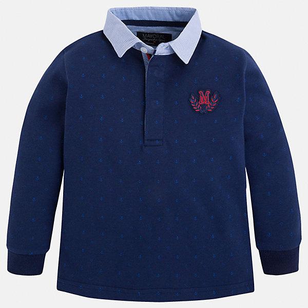 Футболка-поло с длинным рукавом для мальчика MayoralФутболки с длинным рукавом<br>Рубашка-поло для мальчика Mayoral (Майорал) – это стильная, модная и практичная модель.<br>Элегантная рубашка-поло с длинными рукавами от известной испанской марки Mayoral (Майорал) выполненная из натурального хлопка, станет прекрасным дополнением гардероба вашего мальчика. Рубашка с воротником контрастного цвета декорирована логотипом производителя. Ворот застегивается на пуговицы, застежка скрыта. Комфортный прямой крой гарантирует свободу движений.<br><br>Дополнительная информация:<br><br>- Цвет: синий, голубой<br>- Состав: 100% хлопок<br>- Уход: бережная стирка при 30 градусах<br><br>Рубашку-поло для мальчика Mayoral (Майорал) можно купить в нашем интернет-магазине.<br><br>Ширина мм: 174<br>Глубина мм: 10<br>Высота мм: 169<br>Вес г: 157<br>Цвет: синий<br>Возраст от месяцев: 36<br>Возраст до месяцев: 48<br>Пол: Мужской<br>Возраст: Детский<br>Размер: 104,128,98,110,116,122,134<br>SKU: 4820929