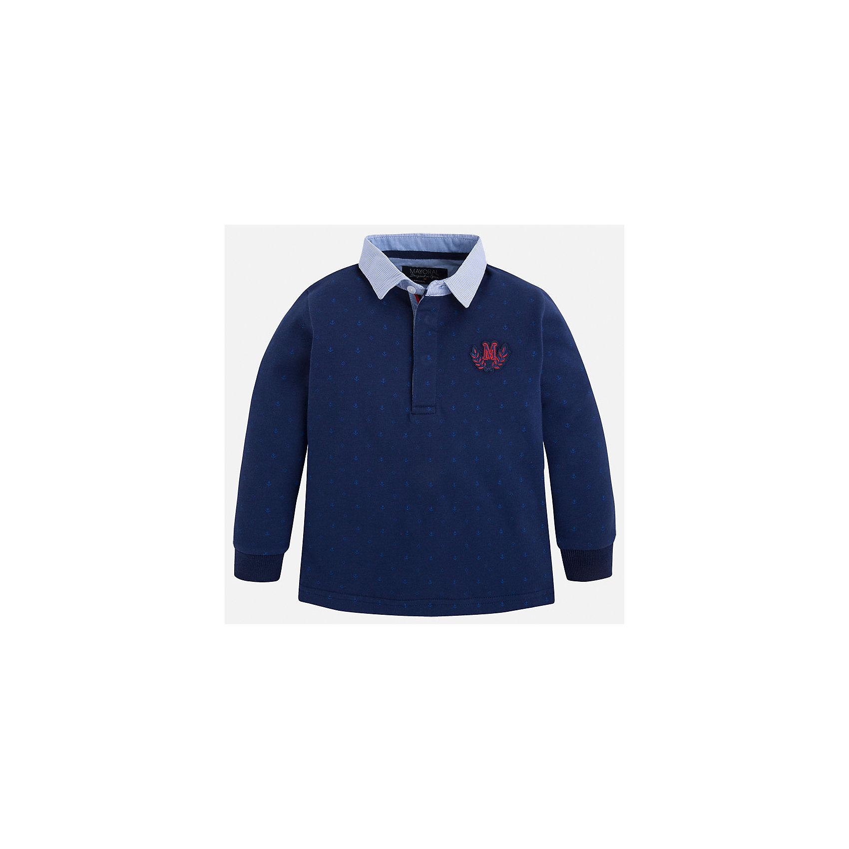 Рубашка-поло для мальчика MayoralРубашка-поло для мальчика Mayoral (Майорал) – это стильная, модная и практичная модель.<br>Элегантная рубашка-поло с длинными рукавами от известной испанской марки Mayoral (Майорал) выполненная из натурального хлопка, станет прекрасным дополнением гардероба вашего мальчика. Рубашка с воротником контрастного цвета декорирована логотипом производителя. Ворот застегивается на пуговицы, застежка скрыта. Комфортный прямой крой гарантирует свободу движений.<br><br>Дополнительная информация:<br><br>- Цвет: синий, голубой<br>- Состав: 100% хлопок<br>- Уход: бережная стирка при 30 градусах<br><br>Рубашку-поло для мальчика Mayoral (Майорал) можно купить в нашем интернет-магазине.<br><br>Ширина мм: 174<br>Глубина мм: 10<br>Высота мм: 169<br>Вес г: 157<br>Цвет: синий<br>Возраст от месяцев: 36<br>Возраст до месяцев: 48<br>Пол: Мужской<br>Возраст: Детский<br>Размер: 104,128,134,122,116,110,98<br>SKU: 4820929