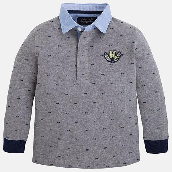 Футболка-поло с длинным рукавом для мальчика MayoralФутболки с длинным рукавом<br>Рубашка-поло для мальчика Mayoral (Майорал) – это стильная, модная и практичная модель.<br>Элегантная рубашка-поло с длинными рукавами от известной испанской марки Mayoral (Майорал) выполненная из натурального хлопка, станет прекрасным дополнением гардероба вашего мальчика. Рубашка с воротником и манжетами контрастных цветов декорирована логотипом производителя. Ворот застегивается на пуговицы, застежка скрыта. Комфортный прямой крой гарантирует свободу движений.<br><br>Дополнительная информация:<br><br>- Цвет: серый, голубой, синий<br>- Состав: 100% хлопок<br>- Уход: бережная стирка при 30 градусах<br><br>Рубашку-поло для мальчика Mayoral (Майорал) можно купить в нашем интернет-магазине.<br>Ширина мм: 174; Глубина мм: 10; Высота мм: 169; Вес г: 157; Цвет: серый; Возраст от месяцев: 72; Возраст до месяцев: 84; Пол: Мужской; Возраст: Детский; Размер: 122,98,134,128,116,110,104; SKU: 4820937;