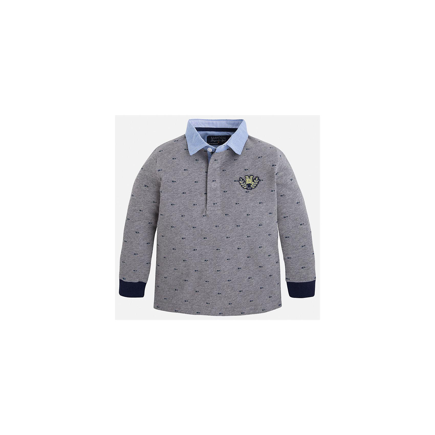 Футболка-поло с длинным рукавом для мальчика MayoralФутболки с длинным рукавом<br>Рубашка-поло для мальчика Mayoral (Майорал) – это стильная, модная и практичная модель.<br>Элегантная рубашка-поло с длинными рукавами от известной испанской марки Mayoral (Майорал) выполненная из натурального хлопка, станет прекрасным дополнением гардероба вашего мальчика. Рубашка с воротником и манжетами контрастных цветов декорирована логотипом производителя. Ворот застегивается на пуговицы, застежка скрыта. Комфортный прямой крой гарантирует свободу движений.<br><br>Дополнительная информация:<br><br>- Цвет: серый, голубой, синий<br>- Состав: 100% хлопок<br>- Уход: бережная стирка при 30 градусах<br><br>Рубашку-поло для мальчика Mayoral (Майорал) можно купить в нашем интернет-магазине.<br><br>Ширина мм: 174<br>Глубина мм: 10<br>Высота мм: 169<br>Вес г: 157<br>Цвет: серый<br>Возраст от месяцев: 36<br>Возраст до месяцев: 48<br>Пол: Мужской<br>Возраст: Детский<br>Размер: 104,110,116,128,122,134,98<br>SKU: 4820937