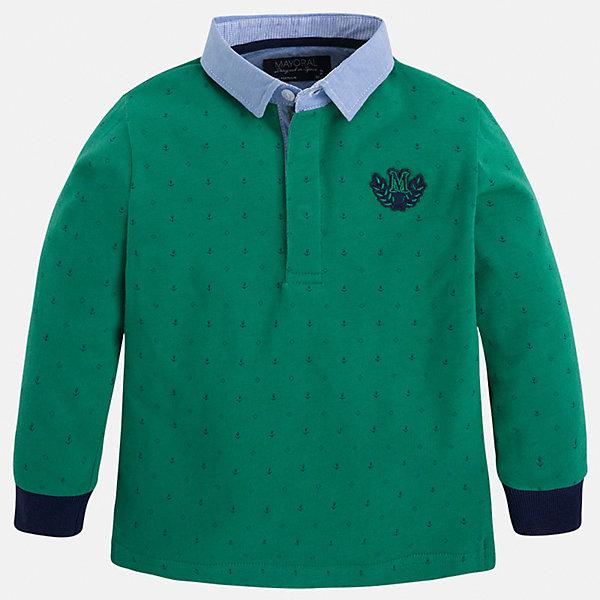 Футболка-поло с длинным рукавом для мальчика MayoralФутболки с длинным рукавом<br>Рубашка-поло для мальчика Mayoral (Майорал) – это стильная, модная и практичная модель.<br>Элегантная рубашка-поло с длинными рукавами от известной испанской марки Mayoral (Майорал) выполненная из натурального хлопка, станет прекрасным дополнением гардероба вашего мальчика. Рубашка с отложным воротником декорирована логотипом производителя. Ворот застегивается на пуговицы, застежка скрыта. Комфортный прямой крой гарантирует свободу движений.<br><br>Дополнительная информация:<br><br>- Состав: 100% хлопок<br>- Уход: бережная стирка при 30 градусах<br><br>Рубашку-поло для мальчика Mayoral (Майорал) можно купить в нашем интернет-магазине.<br><br>Ширина мм: 174<br>Глубина мм: 10<br>Высота мм: 169<br>Вес г: 157<br>Цвет: белый<br>Возраст от месяцев: 24<br>Возраст до месяцев: 36<br>Пол: Мужской<br>Возраст: Детский<br>Размер: 98,134,122,116,128,104,110<br>SKU: 4820945