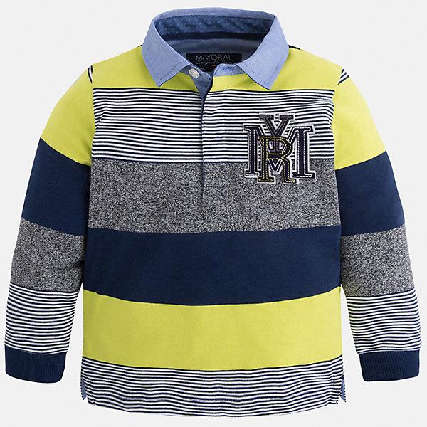 Футболка-поло с длинным рукавом для мальчика MayoralФутболки с длинным рукавом<br>Рубашка-поло для мальчика Mayoral (Майорал) – это стильная, модная и практичная модель.<br>Полосатая рубашка-поло с длинными рукавами от известной испанской марки Mayoral (Майорал) выполненная из натурального хлопка с добавлением полиэстера, станет стильным предметом гардероба вашего мальчика. Рубашка декорирована голубым отложным воротником, манжетами и принтом с логотипом производителя. Ворот застегивается на пуговицы, застежка скрыта. Комфортный прямой крой гарантирует свободу движений.<br><br>Дополнительная информация:<br><br>- Цвет: синий, серый, лимонный, голубой<br>- Состав: 90% хлопок, 10% полиэстер<br>- Уход: бережная стирка при 30 градусах<br><br>Рубашку-поло для мальчика Mayoral (Майорал) можно купить в нашем интернет-магазине.<br><br>Ширина мм: 174<br>Глубина мм: 10<br>Высота мм: 169<br>Вес г: 157<br>Цвет: желтый<br>Возраст от месяцев: 48<br>Возраст до месяцев: 60<br>Пол: Мужской<br>Возраст: Детский<br>Размер: 110,128,116,122,104,98,134<br>SKU: 4820961