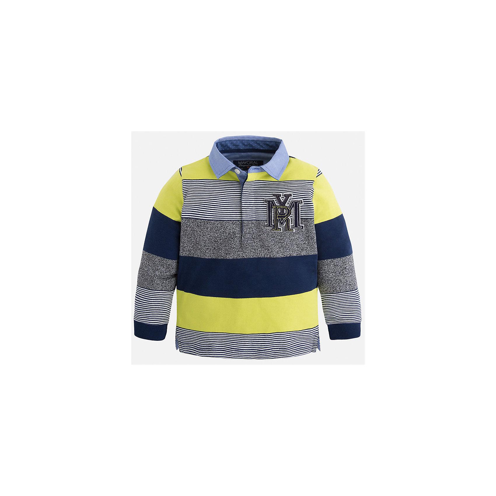 Рубашка-поло для мальчика MayoralРубашка-поло для мальчика Mayoral (Майорал) – это стильная, модная и практичная модель.<br>Полосатая рубашка-поло с длинными рукавами от известной испанской марки Mayoral (Майорал) выполненная из натурального хлопка с добавлением полиэстера, станет стильным предметом гардероба вашего мальчика. Рубашка декорирована голубым отложным воротником, манжетами и принтом с логотипом производителя. Ворот застегивается на пуговицы, застежка скрыта. Комфортный прямой крой гарантирует свободу движений.<br><br>Дополнительная информация:<br><br>- Цвет: синий, серый, лимонный, голубой<br>- Состав: 90% хлопок, 10% полиэстер<br>- Уход: бережная стирка при 30 градусах<br><br>Рубашку-поло для мальчика Mayoral (Майорал) можно купить в нашем интернет-магазине.<br><br>Ширина мм: 174<br>Глубина мм: 10<br>Высота мм: 169<br>Вес г: 157<br>Цвет: желтый<br>Возраст от месяцев: 48<br>Возраст до месяцев: 60<br>Пол: Мужской<br>Возраст: Детский<br>Размер: 110,98,104,116,122,128,134<br>SKU: 4820961