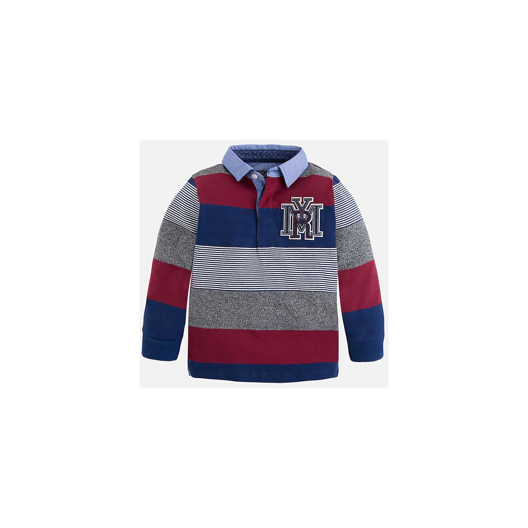 Рубашка-поло для мальчика MayoralРубашка-поло для мальчика Mayoral (Майорал) – это стильная, модная и практичная модель.<br>Полосатая рубашка-поло с длинными рукавами от известной испанской марки Mayoral (Майорал) выполненная из натурального хлопка с добавлением полиэстера, станет стильным предметом гардероба вашего мальчика. Рубашка декорирована голубым отложным воротником, манжетами и принтом с логотипом производителя. Ворот застегивается на пуговицы, застежка скрыта. Комфортный прямой крой гарантирует свободу движений.<br><br>Дополнительная информация:<br><br>- Цвет: синий, серый, бордовый, голубой<br>- Состав: 90% хлопок, 10% полиэстер<br>- Уход: бережная стирка при 30 градусах<br><br>Рубашку-поло для мальчика Mayoral (Майорал) можно купить в нашем интернет-магазине.<br><br>Ширина мм: 174<br>Глубина мм: 10<br>Высота мм: 169<br>Вес г: 157<br>Цвет: синий<br>Возраст от месяцев: 60<br>Возраст до месяцев: 72<br>Пол: Мужской<br>Возраст: Детский<br>Размер: 116,98,110,128,104,134,122<br>SKU: 4820969