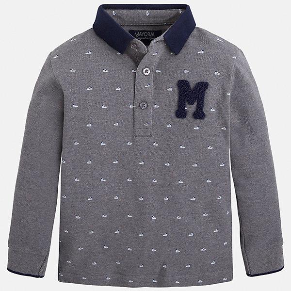 Футболка-поло с длинным рукавом для мальчика MayoralФутболки с длинным рукавом<br>Рубашка-поло для мальчика Mayoral (Майорал) – это стильная, модная и практичная модель.<br>Стильная рубашка-поло с длинными рукавами от известной испанской марки Mayoral (Майорал) выполненная из натурального хлопка, станет прекрасным дополнением гардероба вашего мальчика. Рубашка декорирована принтом с изображением спортивной обуви. У рубашки отложной воротник. Ворот застегивается на пуговицы. Комфортный прямой крой гарантирует свободу движений.<br><br>Дополнительная информация:<br><br>- Состав: 100% хлопок<br>- Уход: бережная стирка при 30 градусах<br><br>Рубашку-поло для мальчика Mayoral (Майорал) можно купить в нашем интернет-магазине.<br><br>Ширина мм: 174<br>Глубина мм: 10<br>Высота мм: 169<br>Вес г: 157<br>Цвет: серый<br>Возраст от месяцев: 24<br>Возраст до месяцев: 36<br>Пол: Мужской<br>Возраст: Детский<br>Размер: 98,104,110,116,128,134,122<br>SKU: 4821001