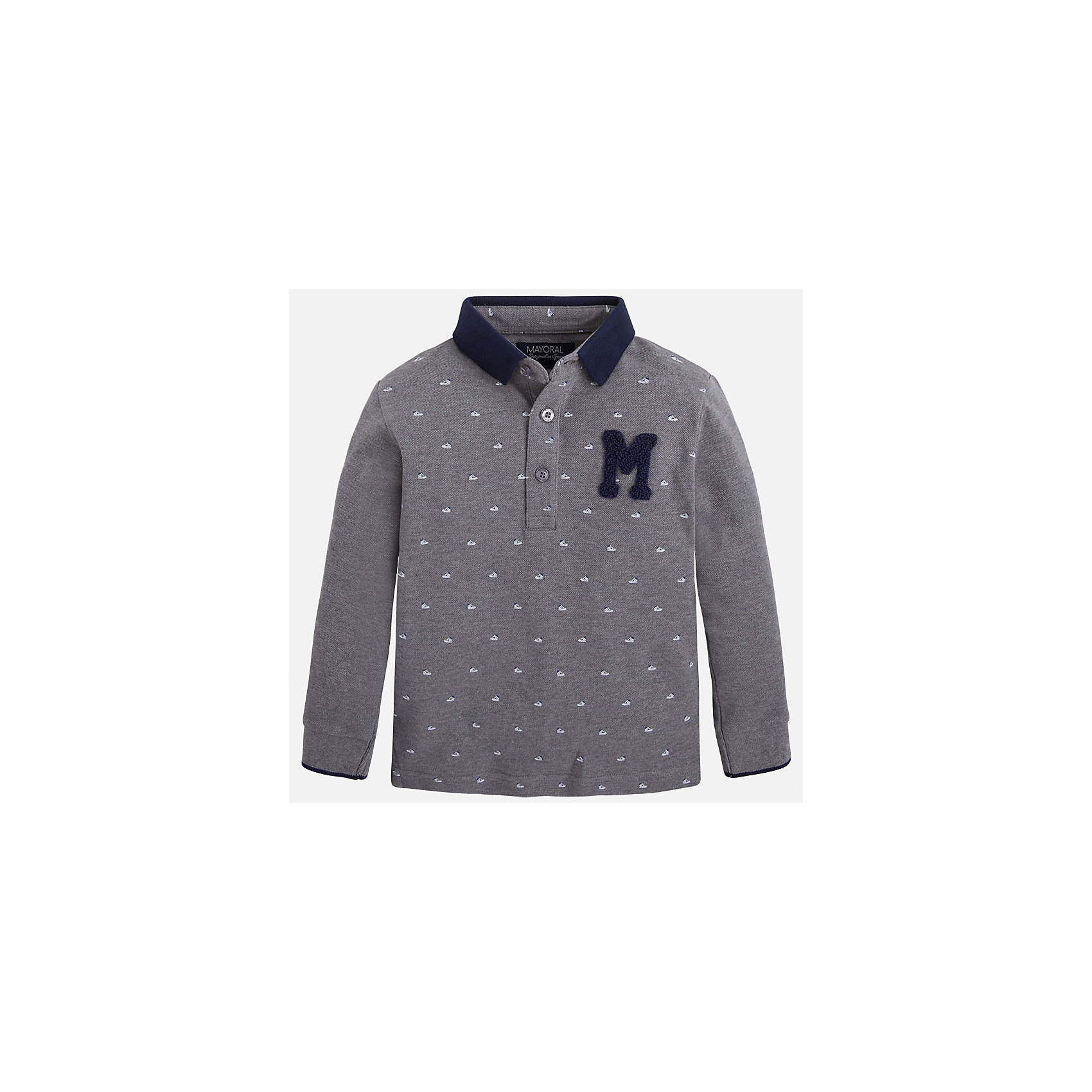Футболка-поло с длинным рукавом для мальчика MayoralФутболки с длинным рукавом<br>Рубашка-поло для мальчика Mayoral (Майорал) – это стильная, модная и практичная модель.<br>Стильная рубашка-поло с длинными рукавами от известной испанской марки Mayoral (Майорал) выполненная из натурального хлопка, станет прекрасным дополнением гардероба вашего мальчика. Рубашка декорирована принтом с изображением спортивной обуви. У рубашки отложной воротник. Ворот застегивается на пуговицы. Комфортный прямой крой гарантирует свободу движений.<br><br>Дополнительная информация:<br><br>- Состав: 100% хлопок<br>- Уход: бережная стирка при 30 градусах<br><br>Рубашку-поло для мальчика Mayoral (Майорал) можно купить в нашем интернет-магазине.<br><br>Ширина мм: 174<br>Глубина мм: 10<br>Высота мм: 169<br>Вес г: 157<br>Цвет: серый<br>Возраст от месяцев: 48<br>Возраст до месяцев: 60<br>Пол: Мужской<br>Возраст: Детский<br>Размер: 110,116,104,98,122,134,128<br>SKU: 4821001