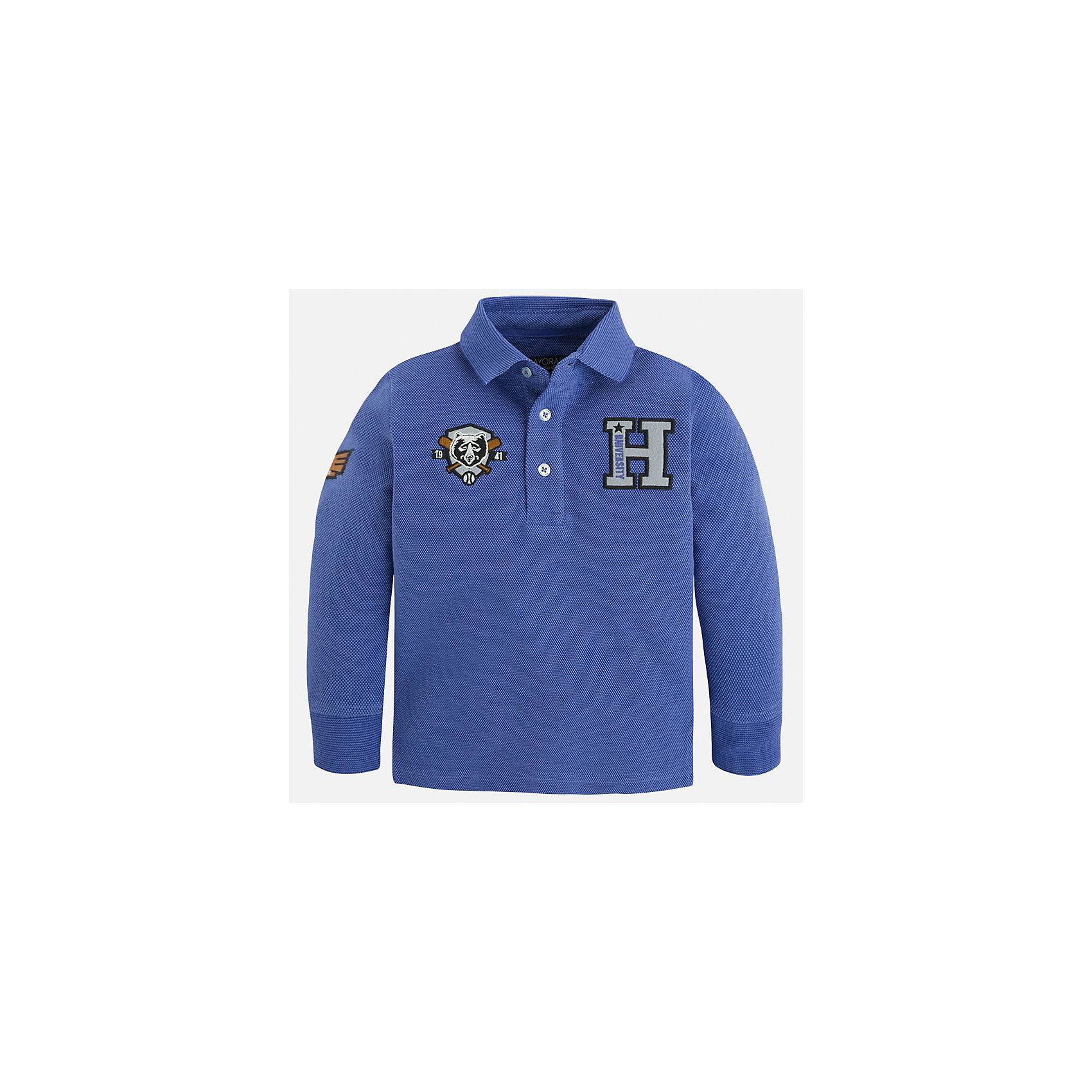 Рубашка-поло для мальчика MayoralРубашка-поло для мальчика Mayoral (Майорал) – это стильная, модная и практичная модель.<br>Стильная рубашка-поло с длинными рукавами от известной испанской марки Mayoral (Майорал) выполненная из натурального хлопка, станет прекрасным дополнением гардероба вашего мальчика. Впереди и на рукаве рубашка декорирована ярким принтом. У рубашки отложной воротник, манжеты. Ворот застегивается на три пуговицы. Комфортный прямой крой гарантирует свободу движений.<br><br>Дополнительная информация:<br><br>- Цвет: голубой<br>- Состав: 100% хлопок<br>- Уход: бережная стирка при 30 градусах<br><br>Рубашку-поло для мальчика Mayoral (Майорал) можно купить в нашем интернет-магазине.<br><br>Ширина мм: 174<br>Глубина мм: 10<br>Высота мм: 169<br>Вес г: 157<br>Цвет: синий<br>Возраст от месяцев: 96<br>Возраст до месяцев: 108<br>Пол: Мужской<br>Возраст: Детский<br>Размер: 128,110,104,116,122,134,98<br>SKU: 4821033
