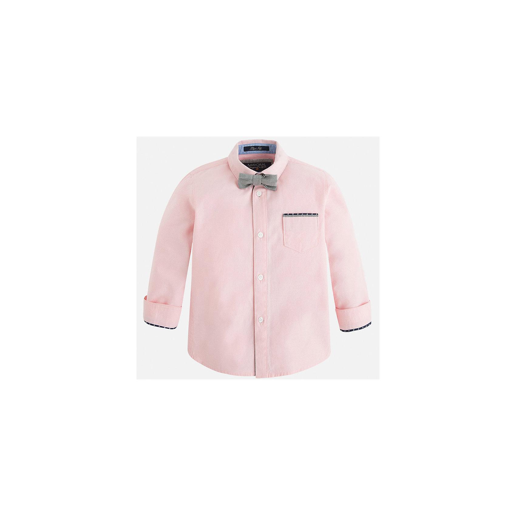 Рубашка для мальчика MayoralРубашка для мальчика Mayoral (Майорал) – это стильная модная модель для вашего маленького джентльмена.<br>Рубашка для мальчика с длинными рукавами от известной испанской марки Mayoral (Майорал) изготовлена из натурального хлопка. Рубашка застегивается на пуговицы, на груди имеется небольшой накладной карман, на локтях - контрастные декоративные заплатки, сочетающиеся по цвету с кантом на кармашке и манжетах. Модель дополнена небольшим элегантным галстуком-бабочкой серого цвета.<br><br>Дополнительная информация:<br><br>- Комплектация: рубашка с галстуком-бабочкой<br>- Цвет: розовый<br>- Состав: 100% хлопок<br>- Уход: бережная стирка при 30 градусах<br><br>Рубашку для мальчика Mayoral (Майорал) можно купить в нашем интернет-магазине.<br><br>Ширина мм: 174<br>Глубина мм: 10<br>Высота мм: 169<br>Вес г: 157<br>Цвет: розовый<br>Возраст от месяцев: 24<br>Возраст до месяцев: 36<br>Пол: Мужской<br>Возраст: Детский<br>Размер: 98,110,104,122,134,128,116<br>SKU: 4821102