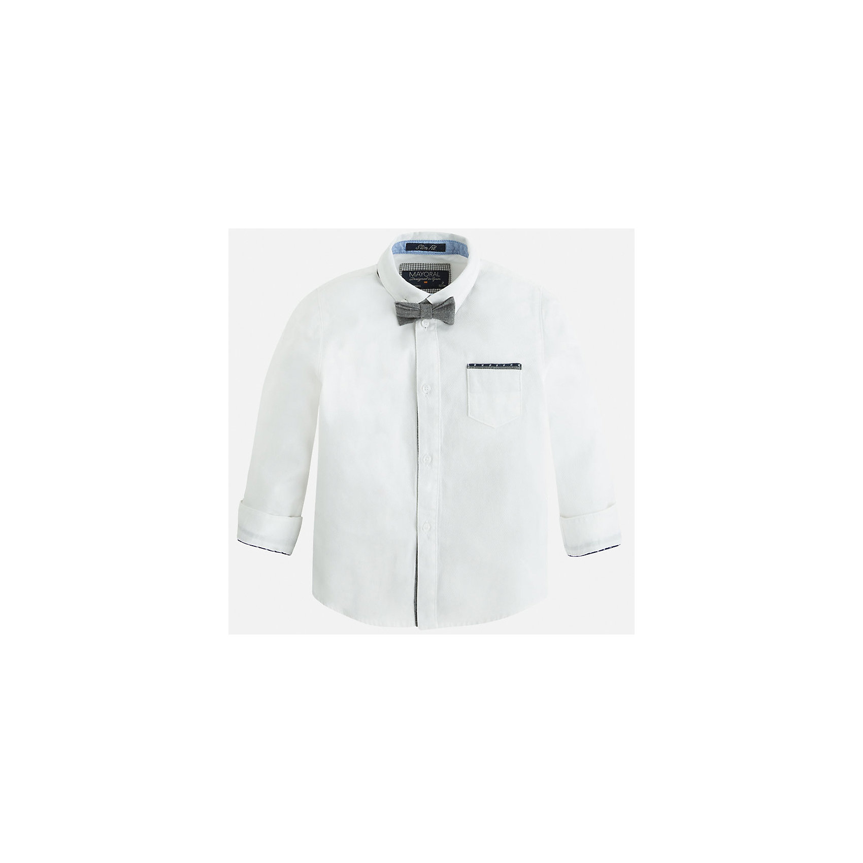 Рубашка для мальчика MayoralРубашка для мальчика Mayoral (Майорал) – это стильная модная модель для вашего маленького джентльмена.<br>Рубашка для мальчика с длинными рукавами от известной испанской марки Mayoral (Майорал) изготовлена из натурального хлопка. Рубашка застегивается на пуговицы, на груди имеется небольшой накладной карман, на локтях - контрастные декоративные заплатки, сочетающиеся по цвету с кантом на кармашке и манжетах. Модель дополнена небольшим элегантным галстуком-бабочкой серого цвета.<br><br>Дополнительная информация:<br><br>- Комплектация: рубашка с галстуком-бабочкой<br>- Цвет: белый<br>- Состав: 100% хлопок<br>- Уход: бережная стирка при 30 градусах<br><br>Рубашку для мальчика Mayoral (Майорал) можно купить в нашем интернет-магазине.<br><br>Ширина мм: 174<br>Глубина мм: 10<br>Высота мм: 169<br>Вес г: 157<br>Цвет: белый<br>Возраст от месяцев: 48<br>Возраст до месяцев: 60<br>Пол: Мужской<br>Возраст: Детский<br>Размер: 110,104,116,128,134,122,98<br>SKU: 4821110