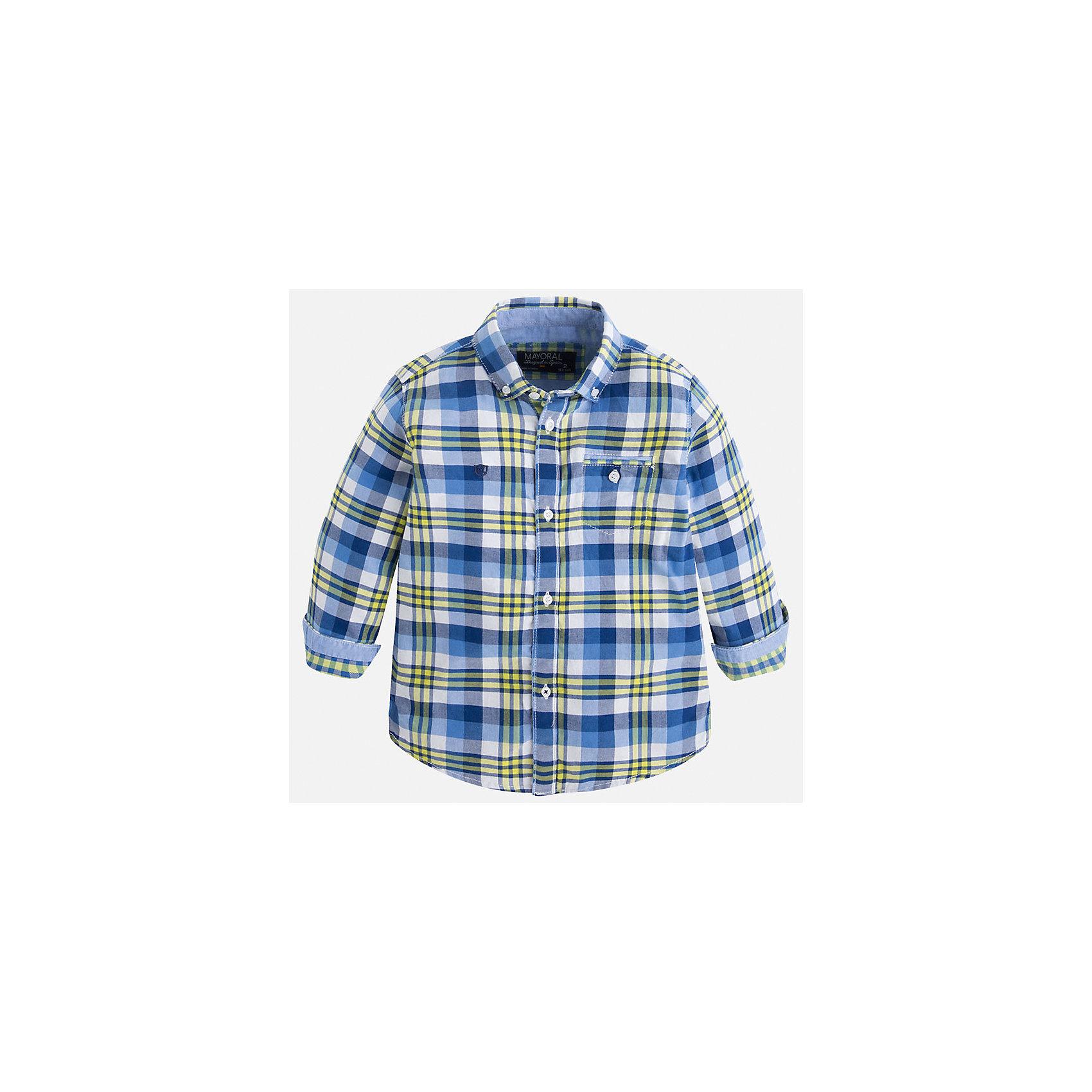 Рубашка для мальчика MayoralРубашка для мальчика Mayoral (Майорал) – это стильная, модная и практичная модель.<br>Рубашка в клетку с длинными рукавами от известной испанской марки Mayoral (Майорал) выполненная из натурального хлопка, станет прекрасным дополнением гардероба вашего мальчика. Рубашка застегивается на пуговицы, на груди имеется кармашек на пуговице, декорирована небольшой монограммой на груди и голубой бейкой на манжетах. Уголки воротника пристегиваются на пуговицы к ткани рубашки. Рубашка для повседневной носки будет отлично сочетаться с джинсами. Комфортный крой гарантирует свободу движений.<br><br>Дополнительная информация:<br><br>- Цвет: синий, голубой, белый, желтый<br>- Состав: 100% хлопок<br>- Уход: бережная стирка при 30 градусах<br><br>Рубашку для мальчика Mayoral (Майорал) можно купить в нашем интернет-магазине.<br><br>Ширина мм: 174<br>Глубина мм: 10<br>Высота мм: 169<br>Вес г: 157<br>Цвет: желтый<br>Возраст от месяцев: 108<br>Возраст до месяцев: 120<br>Пол: Мужской<br>Возраст: Детский<br>Размер: 134,104,122,128,116,110,98<br>SKU: 4821126