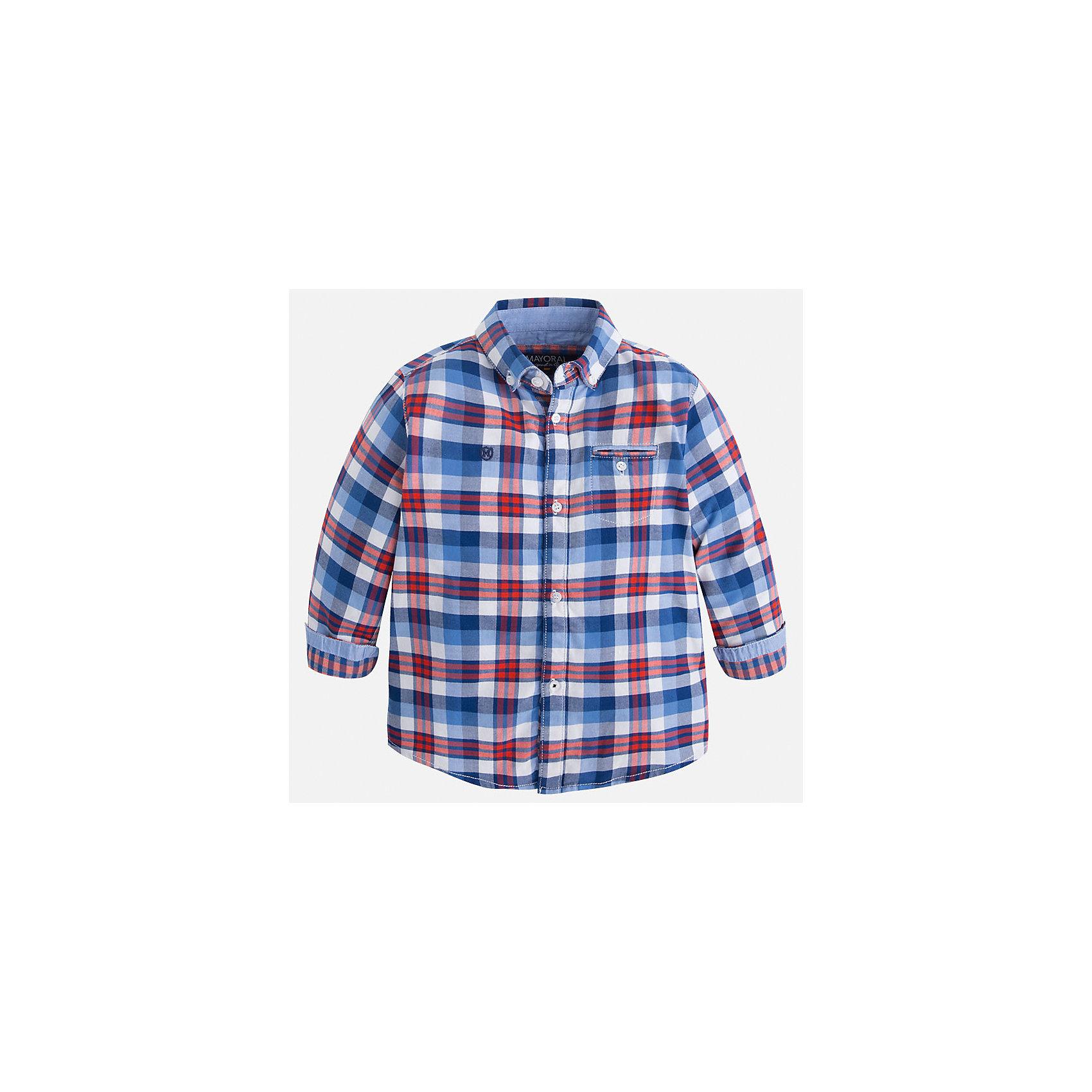 Рубашка для мальчика MayoralРубашка для мальчика Mayoral (Майорал) – это стильная, модная и практичная модель.<br>Рубашка в клетку с длинными рукавами от известной испанской марки Mayoral (Майорал) выполненная из натурального хлопка, станет прекрасным дополнением гардероба вашего мальчика. Рубашка застегивается на пуговицы, на груди имеется кармашек на пуговице, декорирована небольшой монограммой на груди и голубой бейкой на манжетах. Уголки воротника пристегиваются на пуговицы к ткани рубашки. Рубашка для повседневной носки будет отлично сочетаться с джинсами. Комфортный крой гарантирует свободу движений.<br><br>Дополнительная информация:<br><br>- Цвет: синий, голубой, белый, красно-оранжевый<br>- Состав: 100% хлопок<br>- Уход: бережная стирка при 30 градусах<br><br>Рубашку для мальчика Mayoral (Майорал) можно купить в нашем интернет-магазине.<br><br>Ширина мм: 174<br>Глубина мм: 10<br>Высота мм: 169<br>Вес г: 157<br>Цвет: коричневый<br>Возраст от месяцев: 108<br>Возраст до месяцев: 120<br>Пол: Мужской<br>Возраст: Детский<br>Размер: 134,110,98,104,128,122,116<br>SKU: 4821134