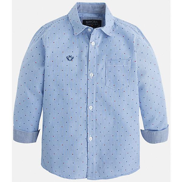 Рубашка для мальчика MayoralБлузки и рубашки<br>Рубашка для мальчика Mayoral (Майорал) – это стильная модная и практичная модель.<br>Рубашка с длинными рукавами от известной испанской марки Mayoral (Майорал) выполненная из натурального хлопка, станет прекрасным дополнением гардероба вашего мальчика. Рубашка застегивается на пуговицы, на груди имеется кармашек, декорирована небольшой монограммой. Комфортный крой гарантирует свободу движений.<br><br>Дополнительная информация:<br><br>- Цвет: голубой<br>- Состав: 100% хлопок<br>- Уход: бережная стирка при 30 градусах<br><br>Рубашку для мальчика Mayoral (Майорал) можно купить в нашем интернет-магазине.<br>Ширина мм: 174; Глубина мм: 10; Высота мм: 169; Вес г: 157; Цвет: синий; Возраст от месяцев: 96; Возраст до месяцев: 108; Пол: Мужской; Возраст: Детский; Размер: 134,122,104,98,110,128,116; SKU: 4821142;