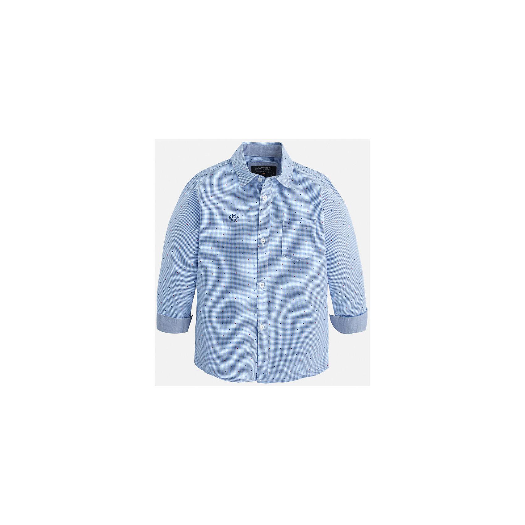 Рубашка для мальчика MayoralБлузки и рубашки<br>Рубашка для мальчика Mayoral (Майорал) – это стильная модная и практичная модель.<br>Рубашка с длинными рукавами от известной испанской марки Mayoral (Майорал) выполненная из натурального хлопка, станет прекрасным дополнением гардероба вашего мальчика. Рубашка застегивается на пуговицы, на груди имеется кармашек, декорирована небольшой монограммой. Комфортный крой гарантирует свободу движений.<br><br>Дополнительная информация:<br><br>- Цвет: голубой<br>- Состав: 100% хлопок<br>- Уход: бережная стирка при 30 градусах<br><br>Рубашку для мальчика Mayoral (Майорал) можно купить в нашем интернет-магазине.<br><br>Ширина мм: 174<br>Глубина мм: 10<br>Высота мм: 169<br>Вес г: 157<br>Цвет: синий<br>Возраст от месяцев: 48<br>Возраст до месяцев: 60<br>Пол: Мужской<br>Возраст: Детский<br>Размер: 110,134,98,104,116,122,128<br>SKU: 4821142