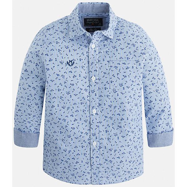 Рубашка для мальчика MayoralОдежда<br>Рубашка для мальчика Mayoral (Майорал) – это стильная модная и практичная модель.<br>Рубашка с длинными рукавами от известной испанской марки Mayoral (Майорал) выполненная из натурального хлопка, станет прекрасным дополнением гардероба вашего мальчика. Рубашка застегивается на пуговицы, на груди имеется кармашек, декорирована небольшой монограммой. Комфортный крой гарантирует свободу движений.<br><br>Дополнительная информация:<br><br>- Цвет: лаванда<br>- Состав: 100% хлопок<br>- Уход: бережная стирка при 30 градусах<br><br>Рубашку для мальчика Mayoral (Майорал) можно купить в нашем интернет-магазине.<br><br>Ширина мм: 174<br>Глубина мм: 10<br>Высота мм: 169<br>Вес г: 157<br>Цвет: лиловый<br>Возраст от месяцев: 24<br>Возраст до месяцев: 36<br>Пол: Мужской<br>Возраст: Детский<br>Размер: 98,104,128,134,122,116,110<br>SKU: 4821150