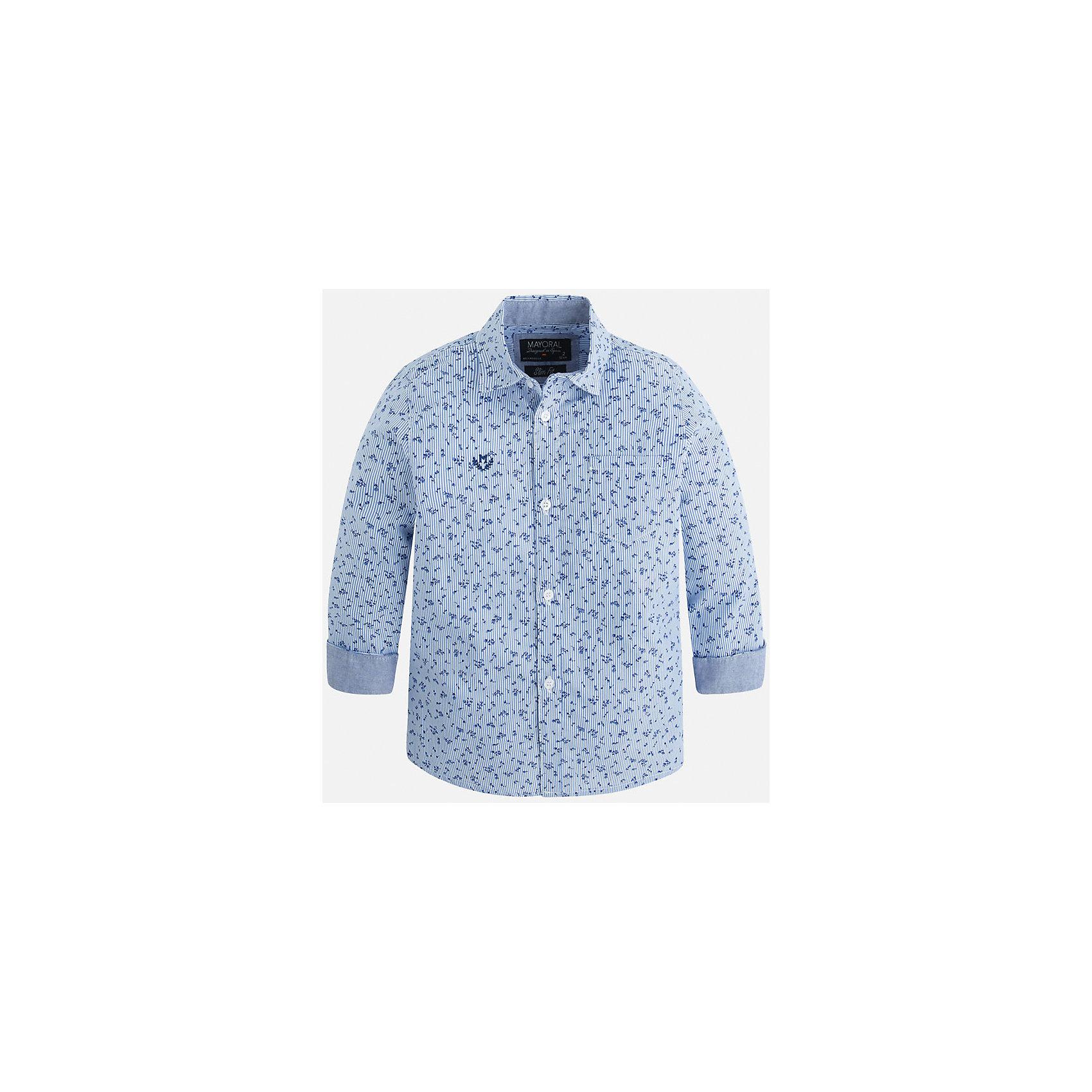 Рубашка для мальчика MayoralОдежда<br>Рубашка для мальчика Mayoral (Майорал) – это стильная модная и практичная модель.<br>Рубашка с длинными рукавами от известной испанской марки Mayoral (Майорал) выполненная из натурального хлопка, станет прекрасным дополнением гардероба вашего мальчика. Рубашка застегивается на пуговицы, на груди имеется кармашек, декорирована небольшой монограммой. Комфортный крой гарантирует свободу движений.<br><br>Дополнительная информация:<br><br>- Цвет: лаванда<br>- Состав: 100% хлопок<br>- Уход: бережная стирка при 30 градусах<br><br>Рубашку для мальчика Mayoral (Майорал) можно купить в нашем интернет-магазине.<br><br>Ширина мм: 174<br>Глубина мм: 10<br>Высота мм: 169<br>Вес г: 157<br>Цвет: лиловый<br>Возраст от месяцев: 36<br>Возраст до месяцев: 48<br>Пол: Мужской<br>Возраст: Детский<br>Размер: 104,128,110,116,122,134,98<br>SKU: 4821150