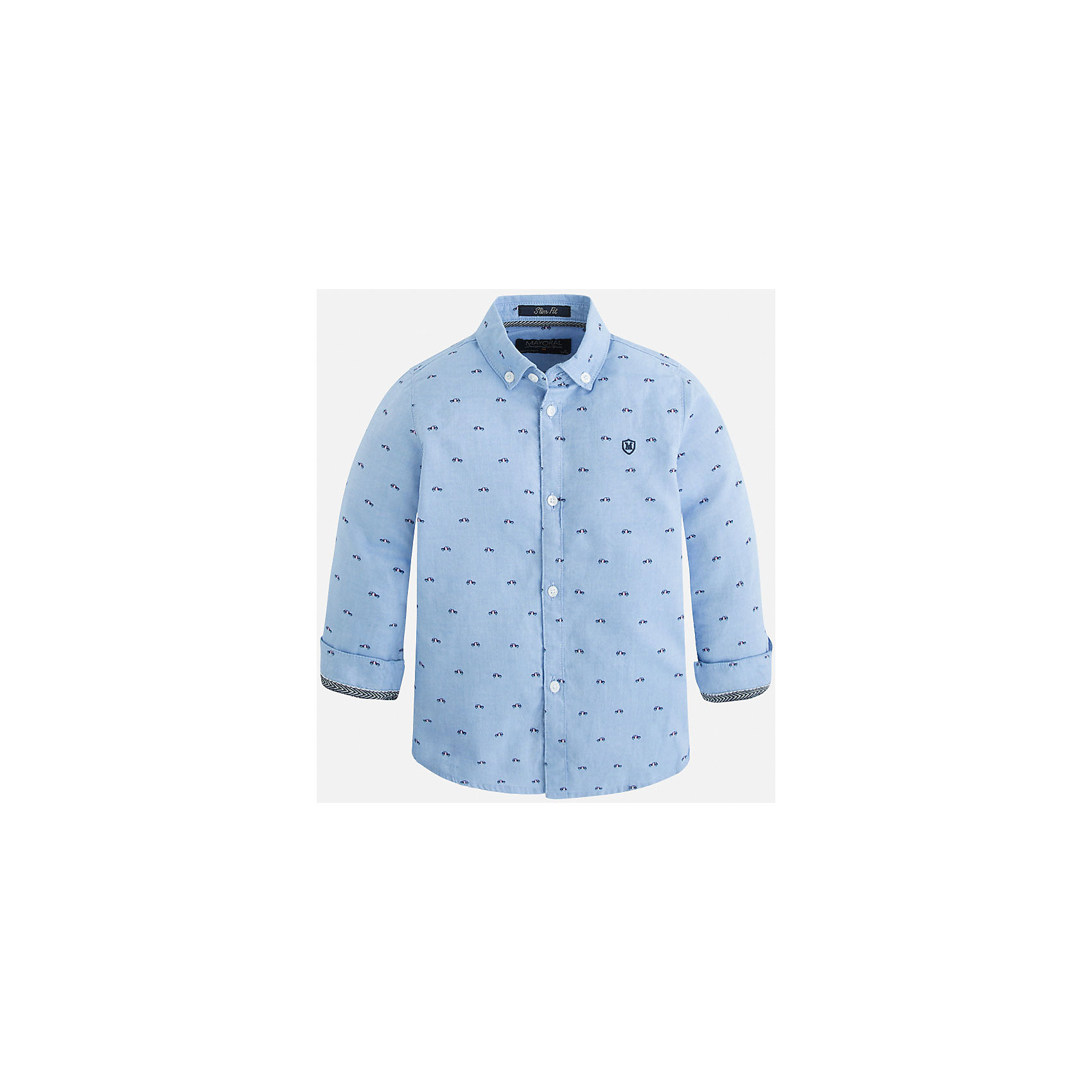 Рубашка для мальчика MayoralРубашка для мальчика Mayoral (Майорал) – это стильная модная и практичная модель.<br>Рубашка с длинными рукавами от известной испанской марки Mayoral (Майорал), выполненная из натурального хлопка, станет прекрасным дополнением гардероба вашего мальчика. Рубашка застегивается на пуговицы, декорирована небольшой монограммой на груди и контрастным кантом на манжетах. Уголки воротника пристегиваются на пуговицы к ткани рубашки. Оригинальный принт в виде маленьких машин обязательно понравится вашему маленькому автолюбителю. Комфортный крой гарантирует свободу движений.<br><br>Дополнительная информация:<br><br>- Цвет: небесно-голубой<br>- Состав: 100% хлопок<br>- Уход: бережная стирка при 30 градусах<br><br>Рубашку для мальчика Mayoral (Майорал) можно купить в нашем интернет-магазине.<br><br>Ширина мм: 174<br>Глубина мм: 10<br>Высота мм: 169<br>Вес г: 157<br>Цвет: голубой<br>Возраст от месяцев: 24<br>Возраст до месяцев: 36<br>Пол: Мужской<br>Возраст: Детский<br>Размер: 98,134,128,122,116,110,104<br>SKU: 4821158