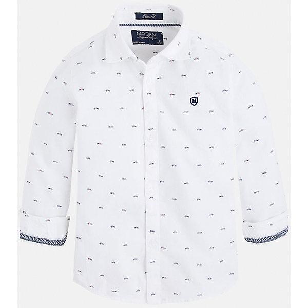 Рубашка для мальчика MayoralБлузки и рубашки<br>Рубашка для мальчика Mayoral (Майорал) – это стильная модная и практичная модель.<br>Рубашка с длинными рукавами от известной испанской марки Mayoral (Майорал), выполненная из натурального хлопка, станет прекрасным дополнением гардероба вашего мальчика. Рубашка застегивается на пуговицы, декорирована небольшой монограммой на груди и контрастным кантом на манжетах. Оригинальный принт в виде маленьких машин обязательно понравится вашему маленькому автолюбителю. Комфортный крой гарантирует свободу движений.<br><br>Дополнительная информация:<br><br>- Цвет: белый<br>- Состав: 100% хлопок<br>- Уход: бережная стирка при 30 градусах<br><br>Рубашку для мальчика Mayoral (Майорал) можно купить в нашем интернет-магазине.<br><br>Ширина мм: 174<br>Глубина мм: 10<br>Высота мм: 169<br>Вес г: 157<br>Цвет: белый<br>Возраст от месяцев: 24<br>Возраст до месяцев: 36<br>Пол: Мужской<br>Возраст: Детский<br>Размер: 98,134,128,116,110,104,122<br>SKU: 4821166