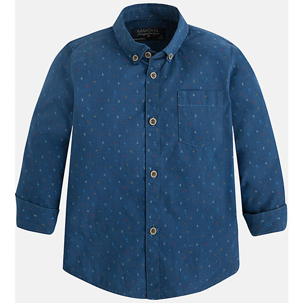 Рубашка для мальчика MayoralБлузки и рубашки<br>Рубашка для мальчика Mayoral (Майорал) – это стильная модная и практичная модель.<br>Рубашка с длинными рукавами от известной испанской марки Mayoral (Майорал), выполненная из натурального хлопка, станет прекрасным дополнением гардероба вашего мальчика. Рубашка застегивается на пуговицы, на груди имеется накладной кармашек. Уголки воротника пристегиваются на пуговицы к ткани рубашки. Комфортный крой гарантирует свободу движений.<br><br>Дополнительная информация:<br><br>- Цвет: синий<br>- Состав: 100% хлопок<br>- Уход: бережная стирка при 30 градусах<br><br>Рубашку для мальчика Mayoral (Майорал) можно купить в нашем интернет-магазине.<br><br>Ширина мм: 174<br>Глубина мм: 10<br>Высота мм: 169<br>Вес г: 157<br>Цвет: синий<br>Возраст от месяцев: 24<br>Возраст до месяцев: 36<br>Пол: Мужской<br>Возраст: Детский<br>Размер: 98,134,128,122,116,110,104<br>SKU: 4821174