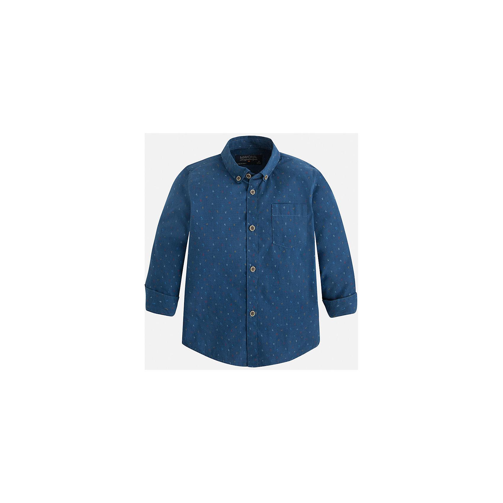 Рубашка для мальчика MayoralБлузки и рубашки<br>Рубашка для мальчика Mayoral (Майорал) – это стильная модная и практичная модель.<br>Рубашка с длинными рукавами от известной испанской марки Mayoral (Майорал), выполненная из натурального хлопка, станет прекрасным дополнением гардероба вашего мальчика. Рубашка застегивается на пуговицы, на груди имеется накладной кармашек. Уголки воротника пристегиваются на пуговицы к ткани рубашки. Комфортный крой гарантирует свободу движений.<br><br>Дополнительная информация:<br><br>- Цвет: синий<br>- Состав: 100% хлопок<br>- Уход: бережная стирка при 30 градусах<br><br>Рубашку для мальчика Mayoral (Майорал) можно купить в нашем интернет-магазине.<br><br>Ширина мм: 174<br>Глубина мм: 10<br>Высота мм: 169<br>Вес г: 157<br>Цвет: синий<br>Возраст от месяцев: 24<br>Возраст до месяцев: 36<br>Пол: Мужской<br>Возраст: Детский<br>Размер: 98,104,110,116,122,128,134<br>SKU: 4821174