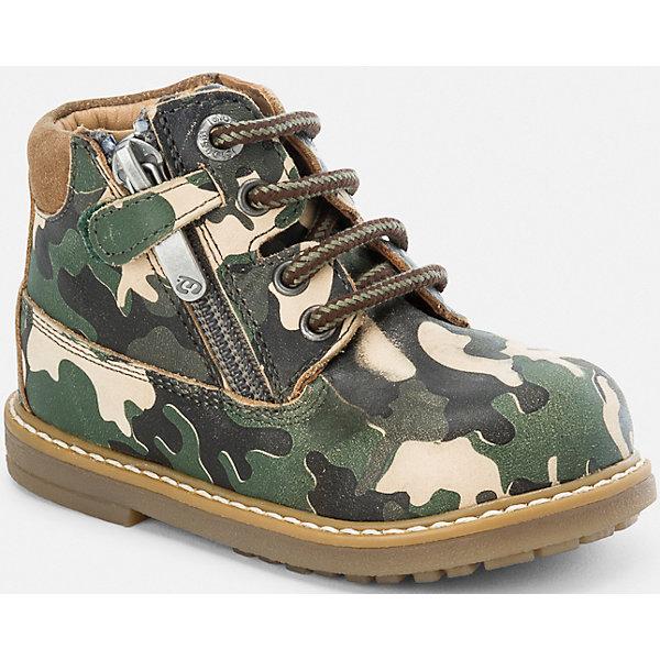 Ботинки для мальчика MayoralОбувь для малышей<br>Ботинки для мальчика Mayoral (Майорал)<br>Стильные кожаные ботинки от известной испанской марки Mayoral (Майорал) прекрасно подойдут для повседневной носки в прохладное время года. Боковая молния позволит быстро одевать и снимать ботинки, а шнуровка обеспечит идеальную посадку. Подошва рифленая.<br><br>Дополнительная информация:<br><br>- Цвет: зеленый<br>- Состав: материал верха - 100% бычья кожа; подкладка, стелька - 85% бычья кожа, 15% хлопок; подошва – 100% синтетический материал<br><br>Ботинки для мальчика Mayoral (Майорал) можно купить в нашем интернет-магазине.<br>Ширина мм: 262; Глубина мм: 176; Высота мм: 97; Вес г: 427; Цвет: зеленый; Возраст от месяцев: 12; Возраст до месяцев: 15; Пол: Мужской; Возраст: Детский; Размер: 21,23,25,24,22; SKU: 4821232;
