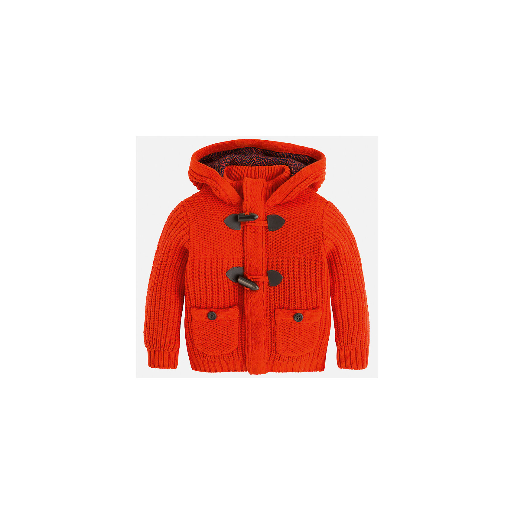 Куртка для мальчика MayoralКуртка для мальчика Mayoral (Майорал)<br>Куртка от известной испанской марки Mayoral (Майорал) станет прекрасным дополнением гардероба вашего мальчика и согреет его в прохладную погоду. Куртка крупной вязки имеет большой капюшон и стоячий воротник, два накладных кармана на пуговицах, застегивается на пуговицы-клевант. Отделка манжет и низа куртки выполнена резинкой.<br><br>Дополнительная информация:<br><br>- Цвет: красно-оранжевый<br>- Состав: 100% акрил<br>- Уход: бережная стирка при 30 градусах<br><br>Куртку для мальчика Mayoral (Майорал) можно купить в нашем интернет-магазине.<br><br>Ширина мм: 356<br>Глубина мм: 10<br>Высота мм: 245<br>Вес г: 519<br>Цвет: коричневый<br>Возраст от месяцев: 96<br>Возраст до месяцев: 108<br>Пол: Мужской<br>Возраст: Детский<br>Размер: 134,122,116,110,98,104,128<br>SKU: 4821394