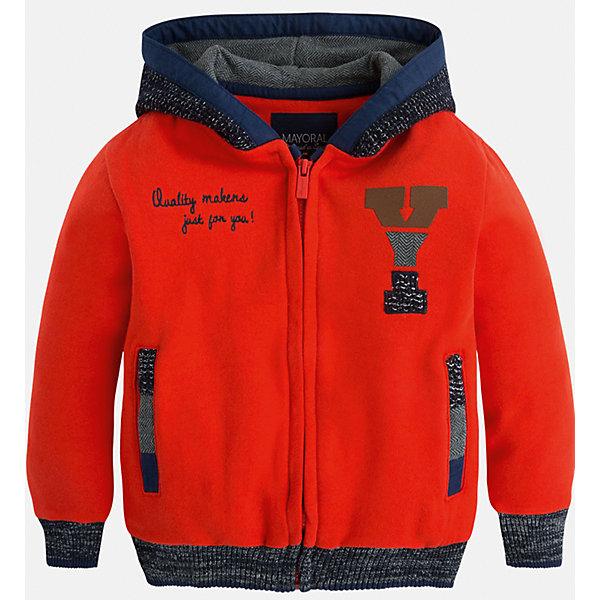 Куртка для мальчика MayoralТолстовки<br>Куртка для мальчика Mayoral (Майорал)<br>Яркая куртка с капюшоном от известной испанской марки Mayoral (Майорал) станет прекрасным дополнением гардероба вашего мальчика и согреет его в прохладную погоду. Куртка застегивается на молнию, имеет два прорезных кармана. Отделка манжет и низа куртки выполнена резинкой.<br><br>Дополнительная информация:<br><br>- Цвет: красно-оранжевый<br>- Состав: 80% хлопок, 20% полиэстер<br>- Уход: бережная стирка при 30 градусах<br><br>Куртку для мальчика Mayoral (Майорал) можно купить в нашем интернет-магазине.<br>Ширина мм: 356; Глубина мм: 10; Высота мм: 245; Вес г: 519; Цвет: коричневый; Возраст от месяцев: 24; Возраст до месяцев: 36; Пол: Мужской; Возраст: Детский; Размер: 98,128,134,104,110,116,122; SKU: 4821558;