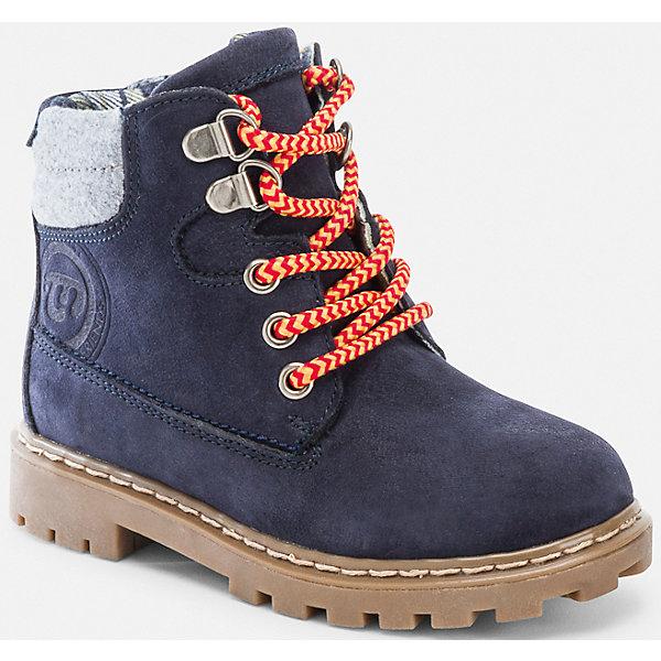 Ботинки для мальчика MayoralБотинки<br>Ботинки для мальчика от популярного испанского бренда Mayoral(Майорал). Изготовлены из кожи и текстиля, удобно застегиваются на молнию, также есть шнуровка спереди. В этих ботинках мальчику будет очень комфортно и тепло!<br><br>Дополнительная информация:<br>Состав. Верх: 90% кожа, 10% полиэстер. Стелька, подкладка: 70% хлопок, 30% кожа. Подошва: 100% синтетические материалы<br>Цвет: синий<br>Ботинки для мальчика Mayoral(Майорал) можно приобрести в нашем интернет-магазине.<br>Ширина мм: 262; Глубина мм: 176; Высота мм: 97; Вес г: 427; Цвет: синий; Возраст от месяцев: 84; Возраст до месяцев: 96; Пол: Мужской; Возраст: Детский; Размер: 28,29,30,31,26,35,34,33,32,27; SKU: 4821630;