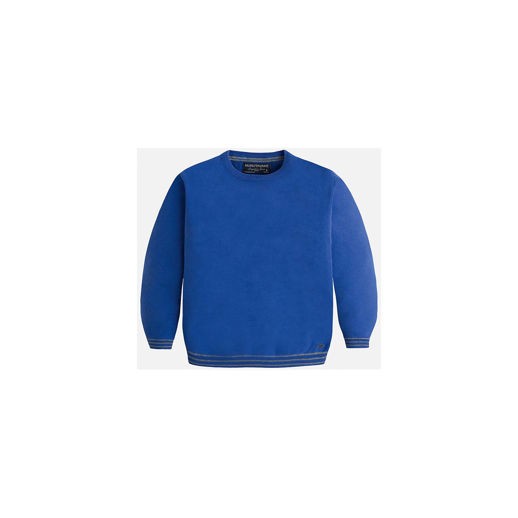Свитер для мальчика MayoralСвитера и кардиганы<br>Красивый хлопковый свитер, с окантовкой внизу в виде трех серых полосок. Свитер хорошо садится и не тянется со временем.<br><br>Дополнительная информация:<br><br>- Прямой крой. <br>- Страна бренда: Испания.<br>- Состав: хлопок 100%<br>- Цвет: голубой.<br>- Уход: бережная стирка при 30 градусах.<br><br>Купить свитер для мальчика Mayoral можно в нашем магазине.<br><br>Ширина мм: 190<br>Глубина мм: 74<br>Высота мм: 229<br>Вес г: 236<br>Цвет: фиолетовый<br>Возраст от месяцев: 96<br>Возраст до месяцев: 108<br>Пол: Мужской<br>Возраст: Детский<br>Размер: 128/134,164/170,134/140,146/152,152/158,158/164<br>SKU: 4821718