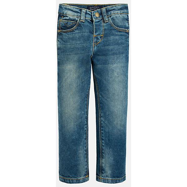 Джинсы для мальчика MayoralДжинсовая одежда<br>Классический джинсы - это неотъемлемый атрибут в гардеробе мальчишки!<br><br>Дополнительная информация:<br><br>- Крой: Regular Fit.<br>- Страна бренда: Испания.<br>- Состав: хлопок 98%, эластан 2%.<br>- Цвет: синий.<br>- Уход: бережная стирка при 30 градусах.<br><br>Купить брюки для мальчика Mayoral можно в нашем магазине.<br>Ширина мм: 215; Глубина мм: 88; Высота мм: 191; Вес г: 336; Цвет: синий; Возраст от месяцев: 18; Возраст до месяцев: 24; Пол: Мужской; Возраст: Детский; Размер: 92,128,134,116,98,104,110,122; SKU: 4821739;