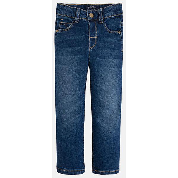 Джинсы для мальчика MayoralДжинсовая одежда<br>Классический джинсы - это неотъемлемый атрибут в гардеробе мальчишки!<br><br>Дополнительная информация:<br><br>- Крой: Regular Fit.<br>- Страна бренда: Испания.<br>- Состав: хлопок 98%, эластан 2%.<br>- Цвет: темно-синий.<br>- Уход: бережная стирка при 30 градусах.<br><br>Купить брюки для мальчика Mayoral можно в нашем магазине.<br><br>Ширина мм: 215<br>Глубина мм: 88<br>Высота мм: 191<br>Вес г: 336<br>Цвет: синий<br>Возраст от месяцев: 18<br>Возраст до месяцев: 24<br>Пол: Мужской<br>Возраст: Детский<br>Размер: 92,134,122,98,104,110,116,128<br>SKU: 4821748