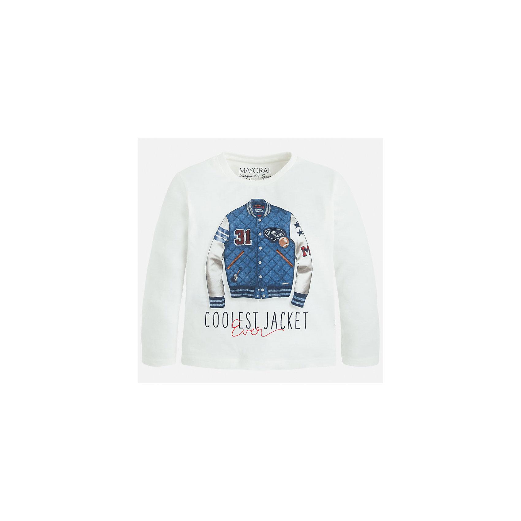 Футболка с длинным рукавом для мальчика MayoralХлопковая футболка с длинными рукавами - это  базовая вещь в любом гардеробе. Благодаря длинным рукавам и легкому составу, ее можно носить в любое время года, а яркий орнамент, подчеркнет индивидуальный стиль Вашего ребенка!<br><br>Дополнительная информация:<br><br>- Крой: прямой крой.<br>- Страна бренда: Испания.<br>- Состав: хлопок 100%.<br>- Цвет: белый.<br>- Уход: бережная стирка при 30 градусах.<br><br>Купить футболку с длинным рукавом для мальчика, от  Mayoral, можно в нашем магазине.<br><br>Ширина мм: 230<br>Глубина мм: 40<br>Высота мм: 220<br>Вес г: 250<br>Цвет: бежевый<br>Возраст от месяцев: 48<br>Возраст до месяцев: 60<br>Пол: Мужской<br>Возраст: Детский<br>Размер: 110,122,128,116,134,98,104<br>SKU: 4821757