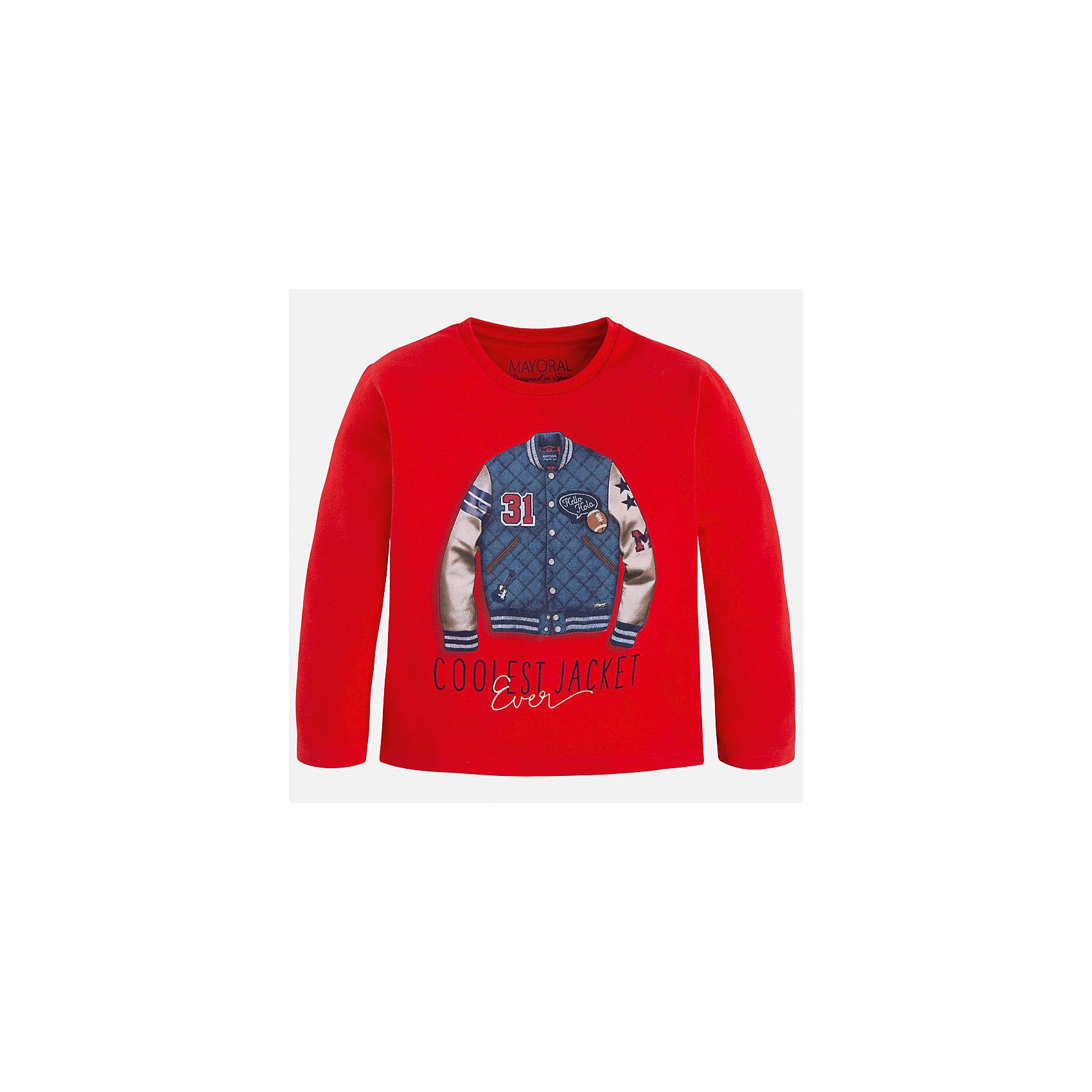 Футболка с длинным рукавом для мальчика MayoralХлопковая футболка с длинными рукавами - это  базовая вещь в любом гардеробе. Благодаря длинным рукавам и легкому составу, ее можно носить в любое время года, а яркий орнамент, подчеркнет индивидуальный стиль Вашего ребенка!<br><br>Дополнительная информация:<br><br>- Крой: прямой крой.<br>- Страна бренда: Испания.<br>- Состав: хлопок 100%.<br>- Цвет: красный.<br>- Уход: бережная стирка при 30 градусах.<br><br>Купить футболку с длинным рукавом для мальчика, от  Mayoral, можно в нашем магазине.<br><br>Ширина мм: 230<br>Глубина мм: 40<br>Высота мм: 220<br>Вес г: 250<br>Цвет: коричневый<br>Возраст от месяцев: 108<br>Возраст до месяцев: 120<br>Пол: Мужской<br>Возраст: Детский<br>Размер: 134,122,116,104,98,110,128<br>SKU: 4821765