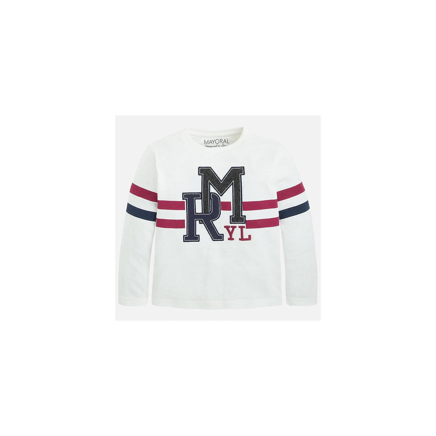 Футболка с длинным рукавом для мальчика MayoralХлопковая футболка с длинными рукавами - это  базовая вещь в любом гардеробе. Благодаря длинным рукавам и легкому составу, ее можно носить в любое время года, а яркий орнамент, подчеркнет индивидуальный стиль Вашего ребенка!<br><br>Дополнительная информация:<br><br>- Крой: прямой крой.<br>- Страна бренда: Испания.<br>- Состав: хлопок 100%.<br>- Цвет: белый.<br>- Уход: бережная стирка при 30 градусах.<br><br>Купить футболку с длинным рукавом для мальчика, от  Mayoral, можно в нашем магазине.<br><br>Ширина мм: 230<br>Глубина мм: 40<br>Высота мм: 220<br>Вес г: 250<br>Цвет: бежевый<br>Возраст от месяцев: 36<br>Возраст до месяцев: 48<br>Пол: Мужской<br>Возраст: Детский<br>Размер: 104,128,134,110,122,116,98<br>SKU: 4821789