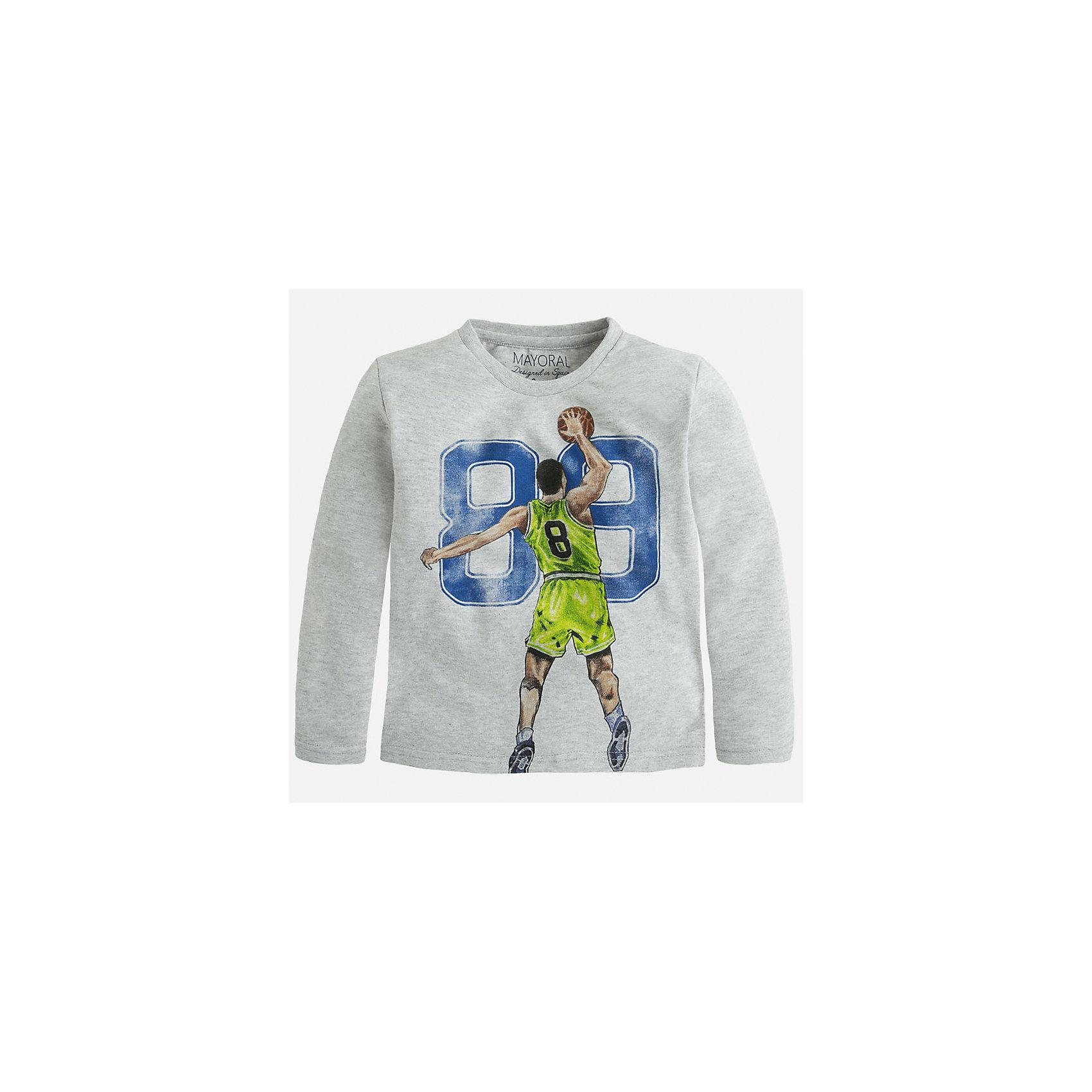 Футболка с длинным рукавом для мальчика MayoralФутболки с длинным рукавом<br>Хлопковая футболка с длинными рукавами - это  базовая вещь в любом гардеробе. Благодаря длинным рукавам и легкому составу, ее можно носить в любое время года, а яркий орнамент, подчеркнет индивидуальный стиль Вашего ребенка!<br><br>Дополнительная информация:<br><br>- Крой: прямой крой.<br>- Страна бренда: Испания.<br>- Состав: хлопок 100%.<br>- Цвет: серый.<br>- Уход: бережная стирка при 30 градусах.<br><br>Купить футболку с длинным рукавом для мальчика, от  Mayoral, можно в нашем магазине.<br><br>Ширина мм: 230<br>Глубина мм: 40<br>Высота мм: 220<br>Вес г: 250<br>Цвет: серый<br>Возраст от месяцев: 96<br>Возраст до месяцев: 108<br>Пол: Мужской<br>Возраст: Детский<br>Размер: 128,110,104,134,122,116,98<br>SKU: 4821821