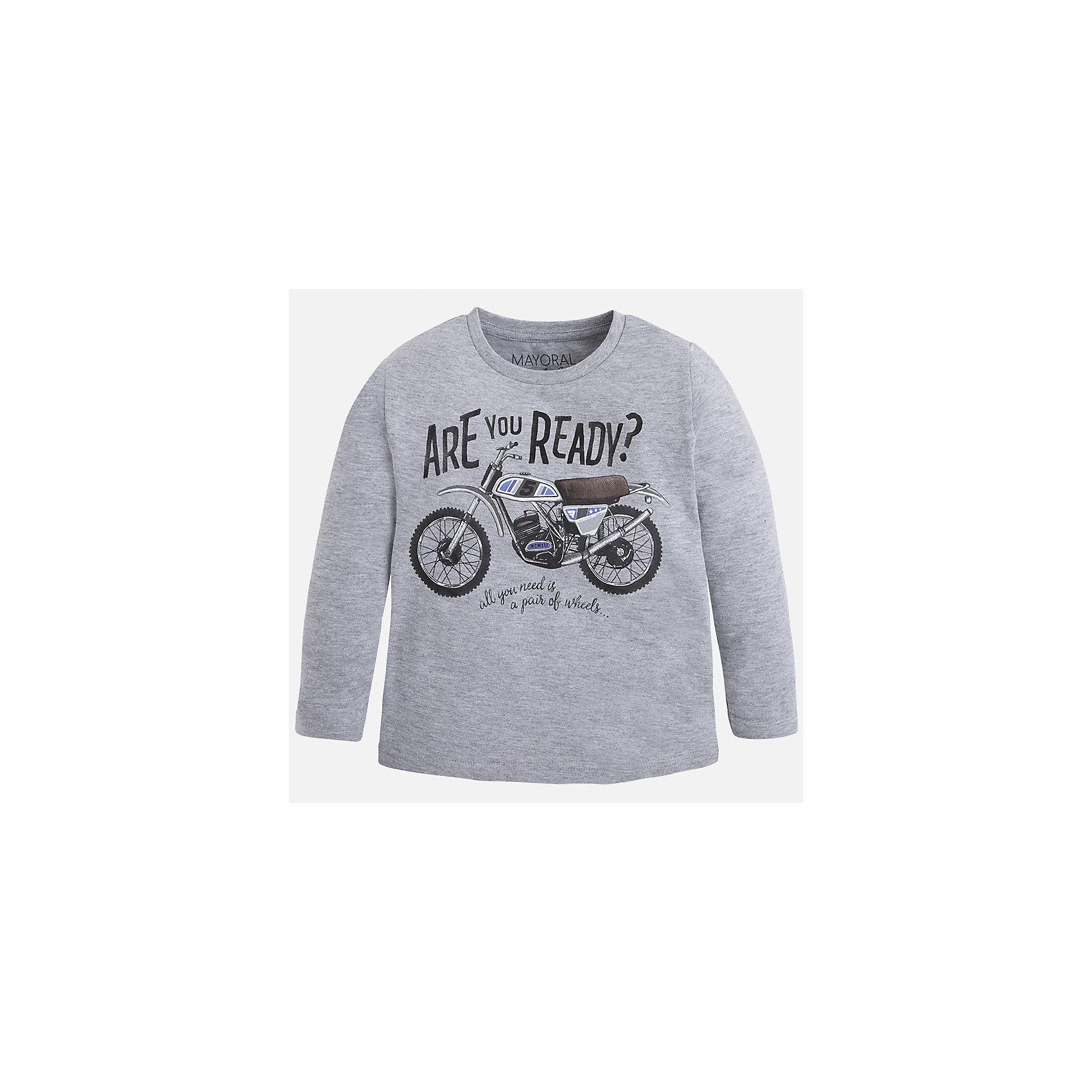 Футболка с длинным рукавом для мальчика MayoralФутболки с длинным рукавом<br>Хлопковая футболка с длинными рукавами - это  базовая вещь в любом гардеробе. Благодаря длинным рукавам и легкому составу, ее можно носить в любое время года, а яркий орнамент, подчеркнет индивидуальный стиль Вашего ребенка!<br><br>Дополнительная информация:<br><br>- Крой: прямой крой.<br>- Страна бренда: Испания.<br>- Состав: хлопок 90%, вискоза 10%.<br>- Цвет: серый.<br>- Уход: бережная стирка при 30 градусах.<br><br>Купить футболку с длинным рукавом для мальчика, от  Mayoral, можно в нашем магазине.<br><br>Ширина мм: 230<br>Глубина мм: 40<br>Высота мм: 220<br>Вес г: 250<br>Цвет: серый<br>Возраст от месяцев: 18<br>Возраст до месяцев: 24<br>Пол: Мужской<br>Возраст: Детский<br>Размер: 92,116,134,128,110,98,122,104<br>SKU: 4821845